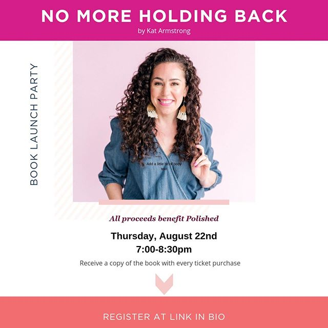 Something very special is happening next Thursday... Polished Executive Director Kat Armstrong is headed our way to launch her first book! And to celebrate, she's hosting a fabulous little get-together on the east side, complete with sips and sweets.  Tickets are only $15 and come with a free copy of her book, No More Holding Back. Plus ALL proceeds from the event benefit our local chapter, Polished Austin! (Psst...Are you a Friend of Polished or a member of the Polished Network? Because you get in FREE! All you need to do is RSVP through the event link.) Head to our bio to snag your ticket and RSVP.  See you there!  #polishedaustin #polishedonline #womeninfaith #professionalwomen #atx #austintexas #femaleauthors