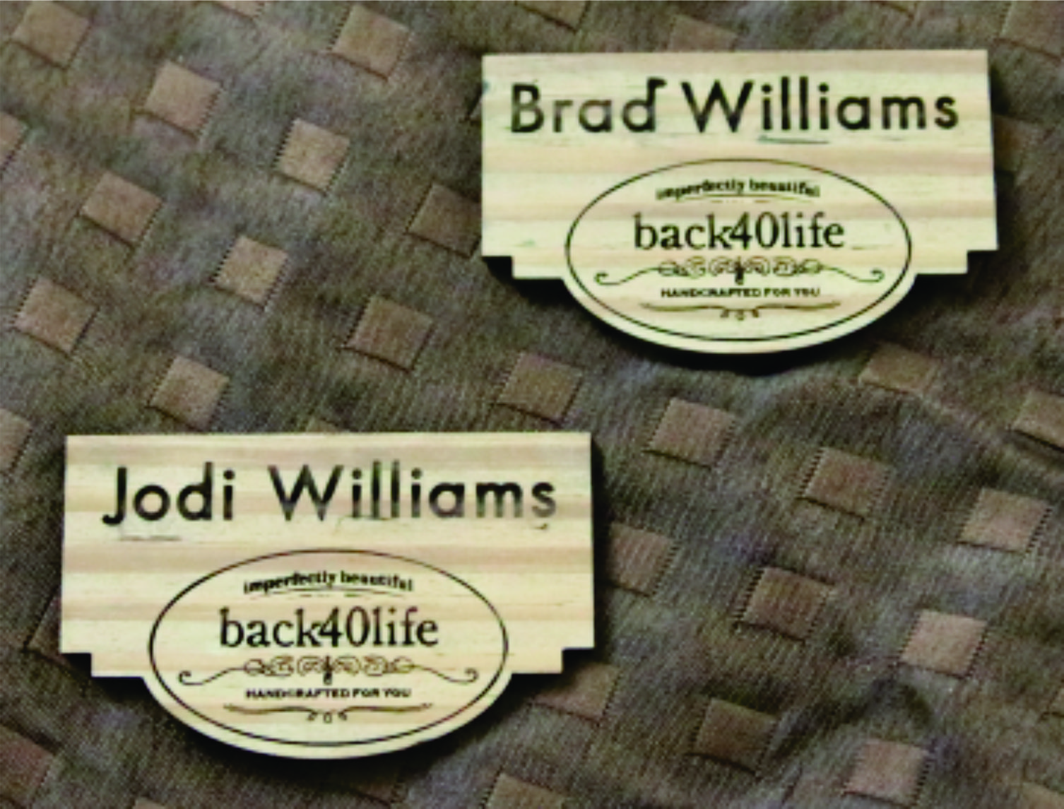 Engraved wood nametags with magnet back - $18/ea.  (minimums may apply)