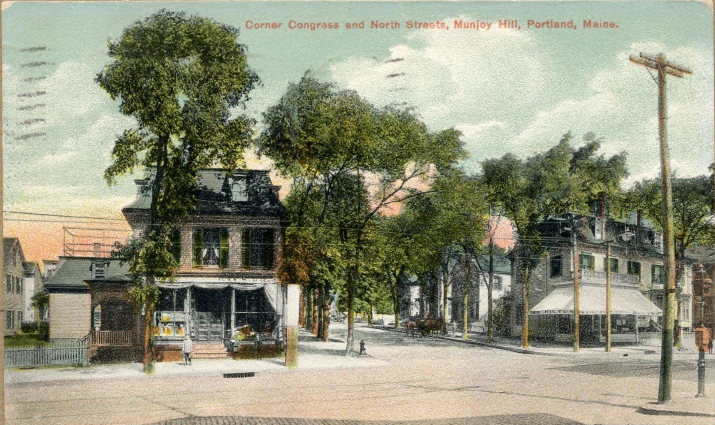 Hilton's (right) and what is now the Hilltop Superette (left)