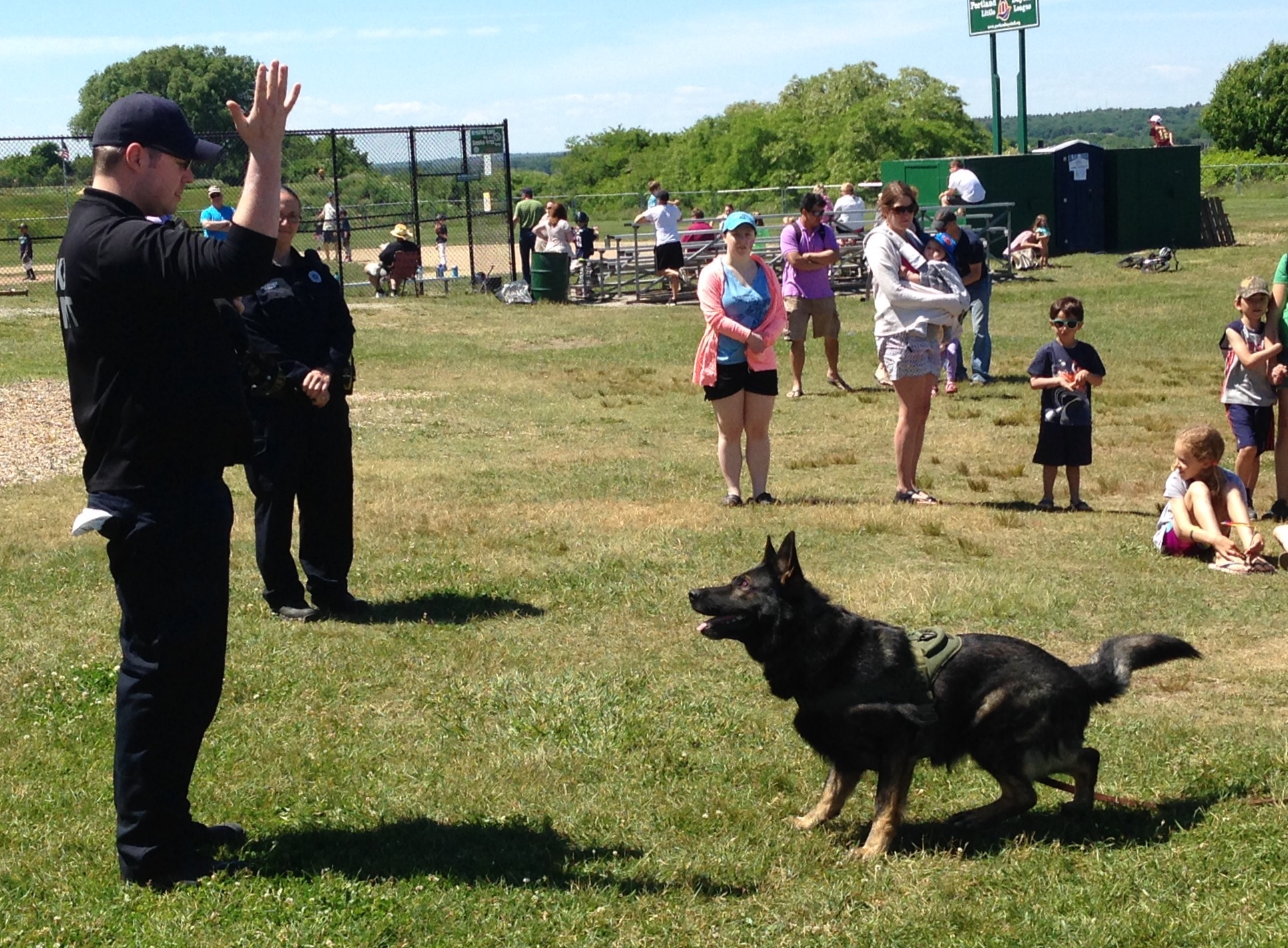 Officer Finely and Mako demonstrate K9 training.