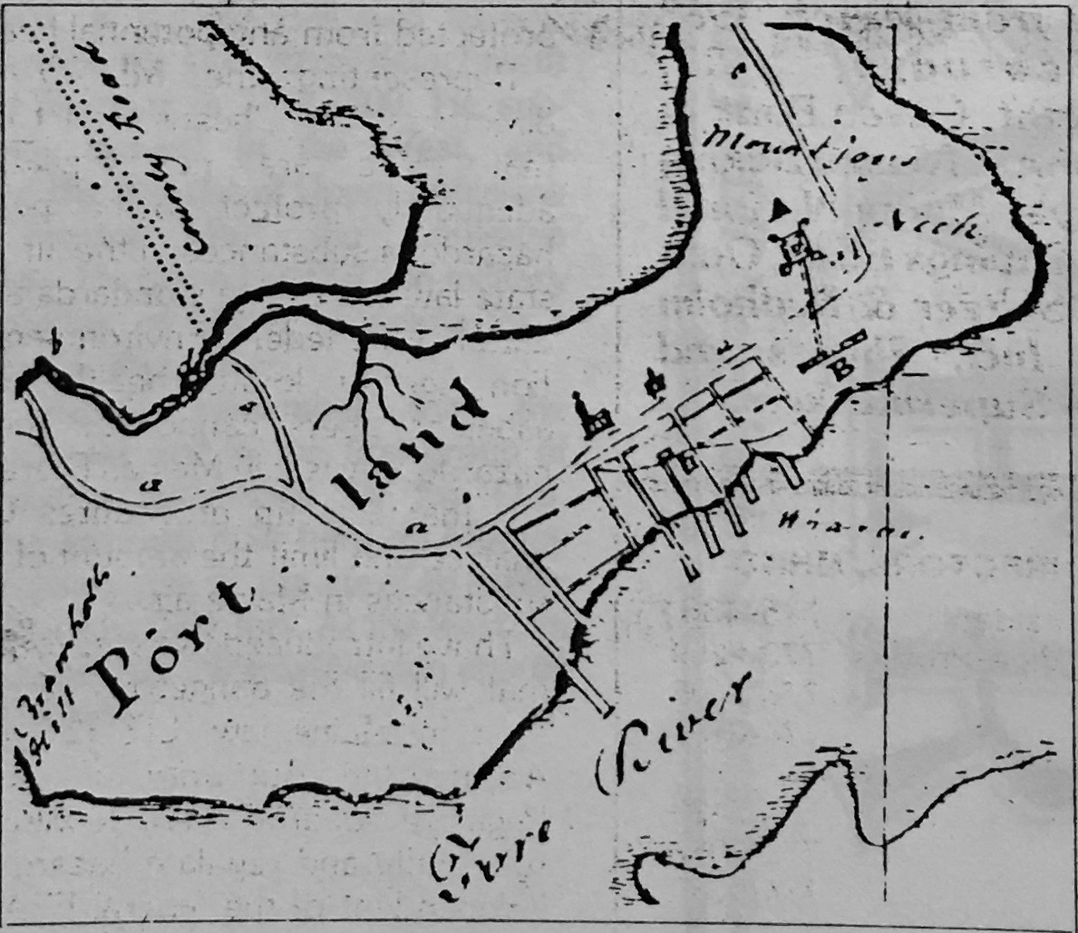 1795 Map of Portland (portion). Legend reads: A to B — Fort with Block House. Covered way from Fort to Battery. Battery of 12 Guns. (Click to enlarge.)