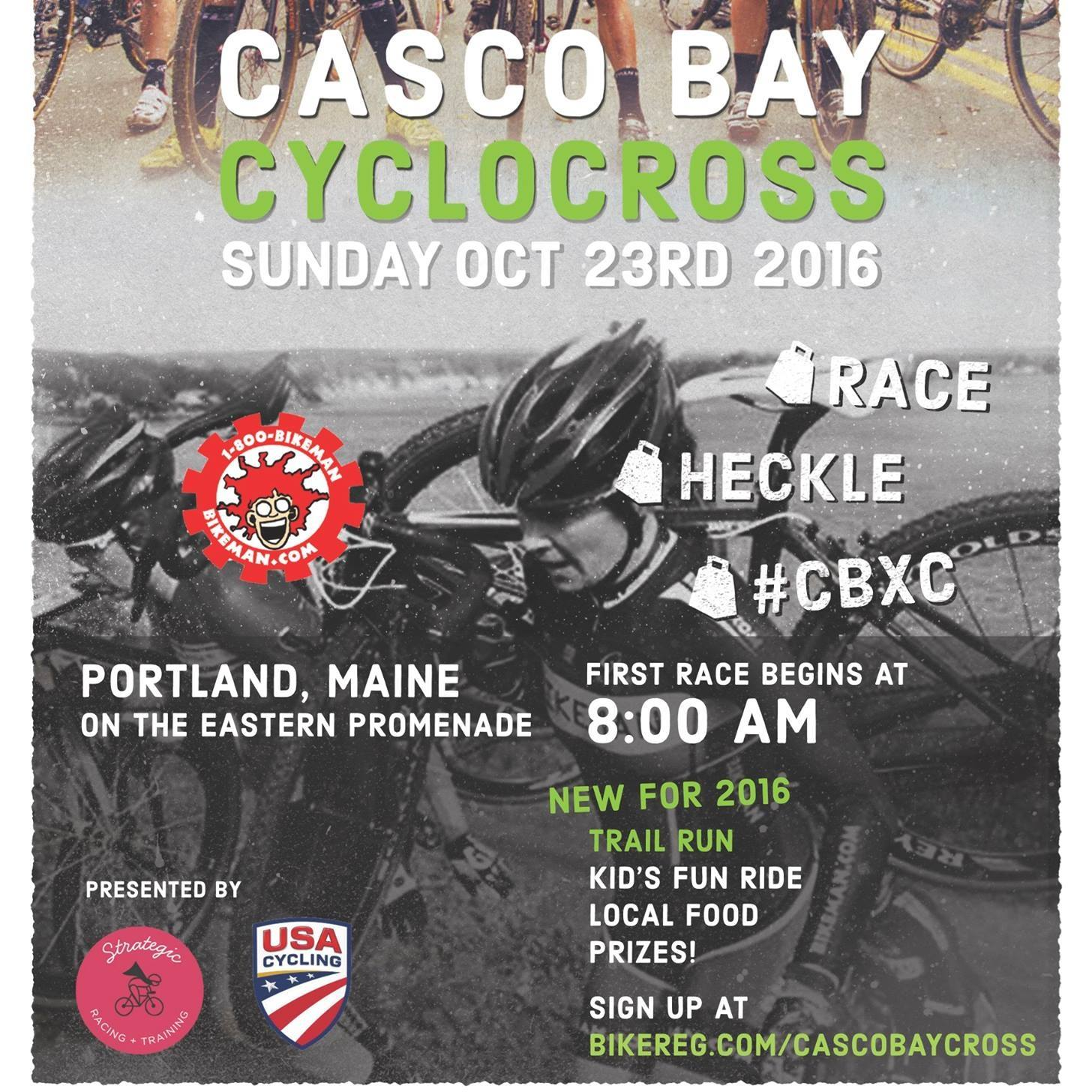 An annual grassroots cyclocross race on the beautiful Eastern Promenade in Portland, Maine. The venue features stunning views of Casco Bay. The course weaves throughout the Prom and features manmade and natural obstacles, steep climbs, and a paved start/finish. Join us Sunday, October 23rd to experience this one-of-a-kind course for yourself:Register for the category that best matches your ability level and age bracket.CBCX is permitted by the City of Portland and sanctioned by USA Cycling. USA Cycling rules apply.    Visit  http://www.strategic-racing.com/cyclocross/ for more information and to location street closure information.