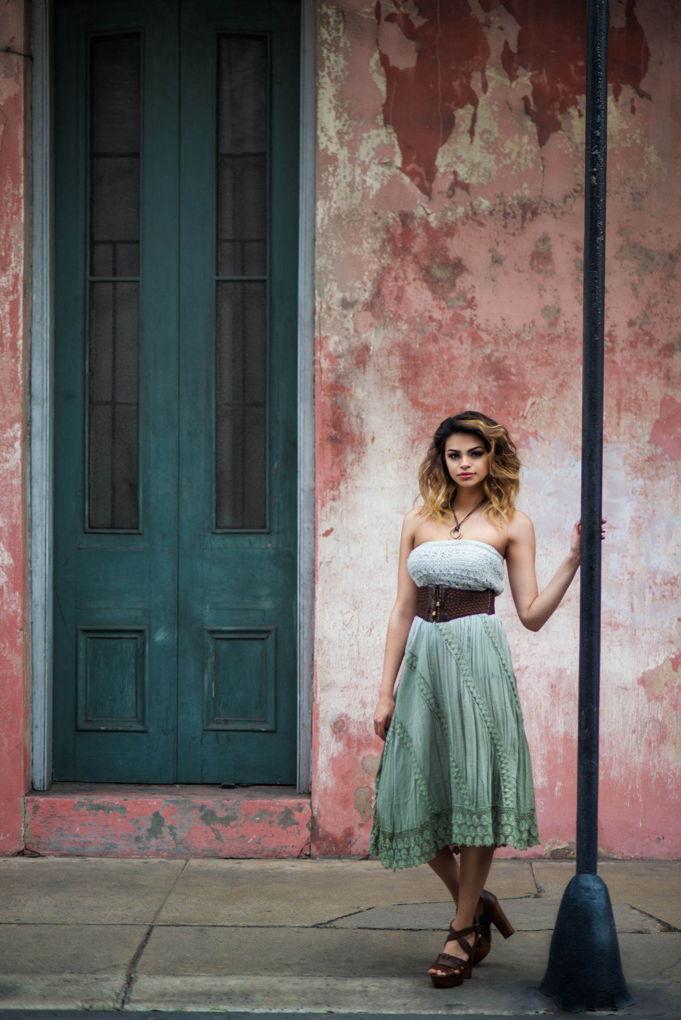 Modeling Porftfolio Building Shoot in New Orleans next to Textured Wall