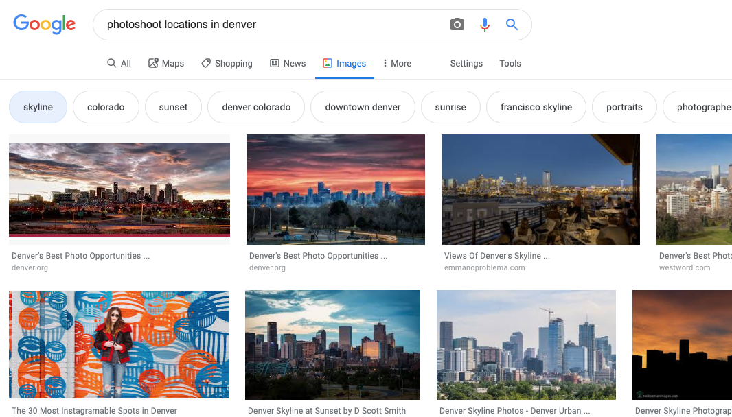 """recommendations are listed in bubbles at the top. Clicking on """"skyline"""" took me to blogs that show the best Denver skyline opportunities."""