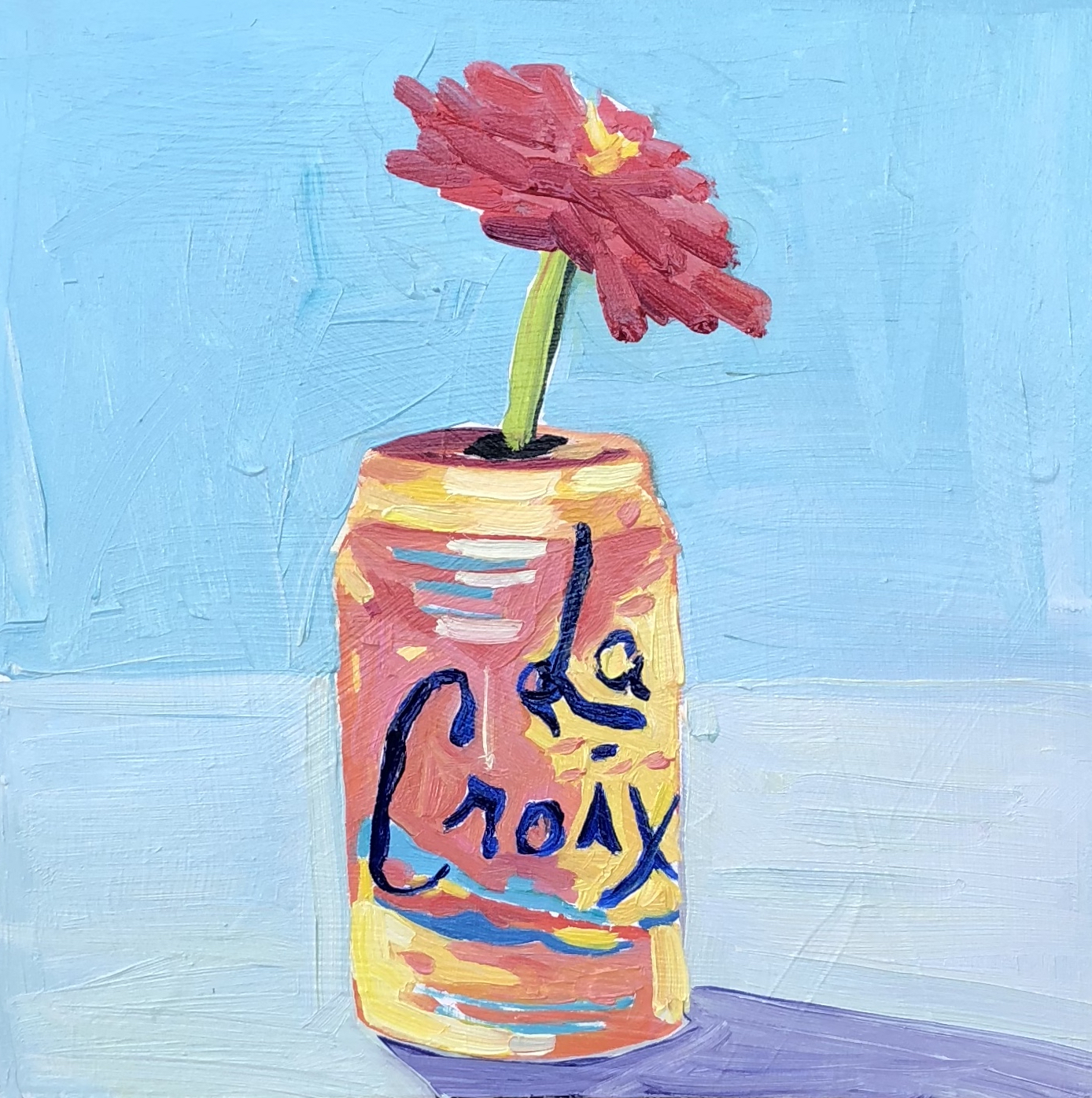 "Zinnia, La Croix, Oil on Canvas, 8""x10"", SOLD"