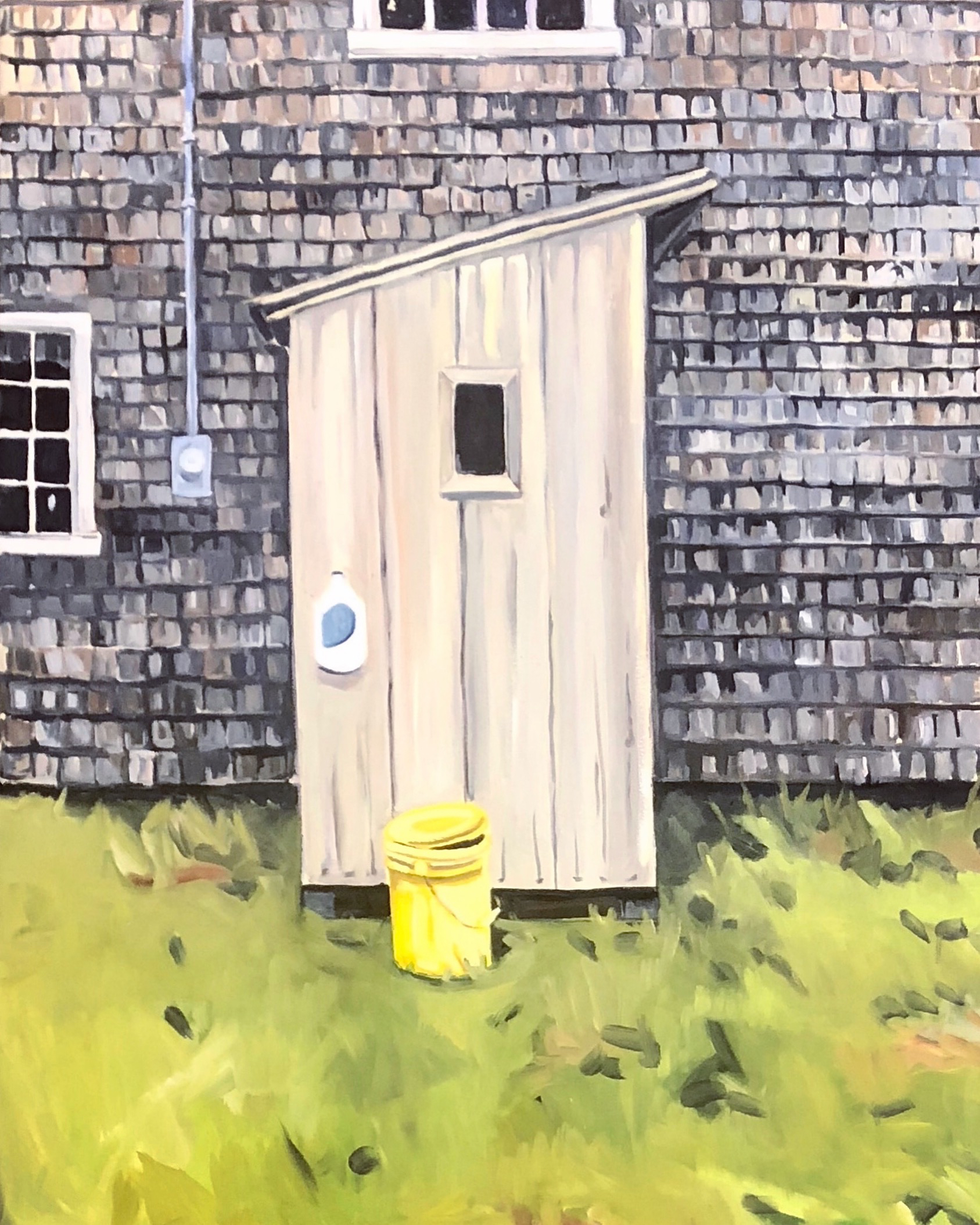 "Outhouse with Yellow Bucket, Oil on Canvas, 36""x50"", SOLD"
