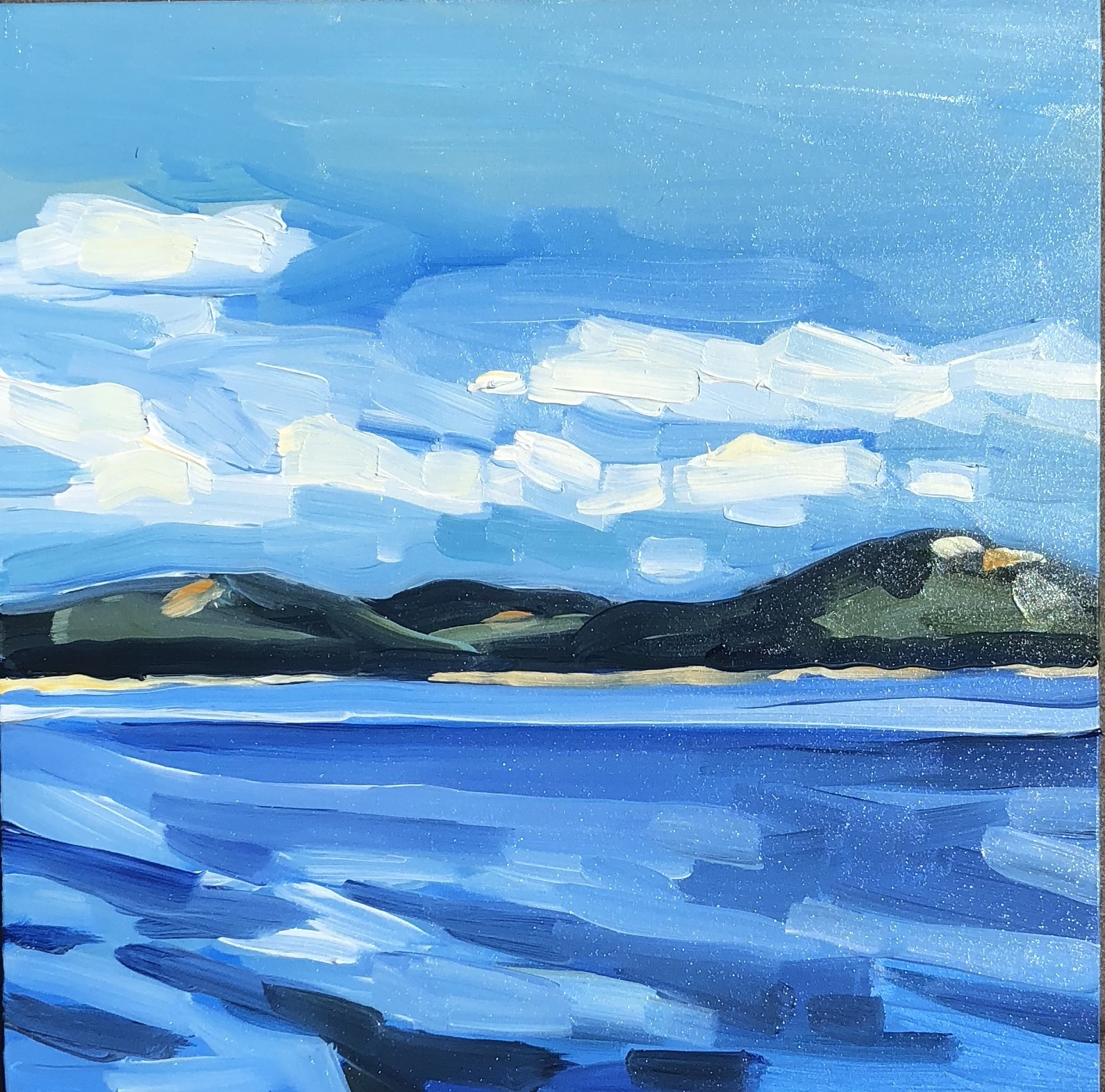 "Mount Desert from Cranberry Island, 8""x8"", Oil on Panel, SOLD"