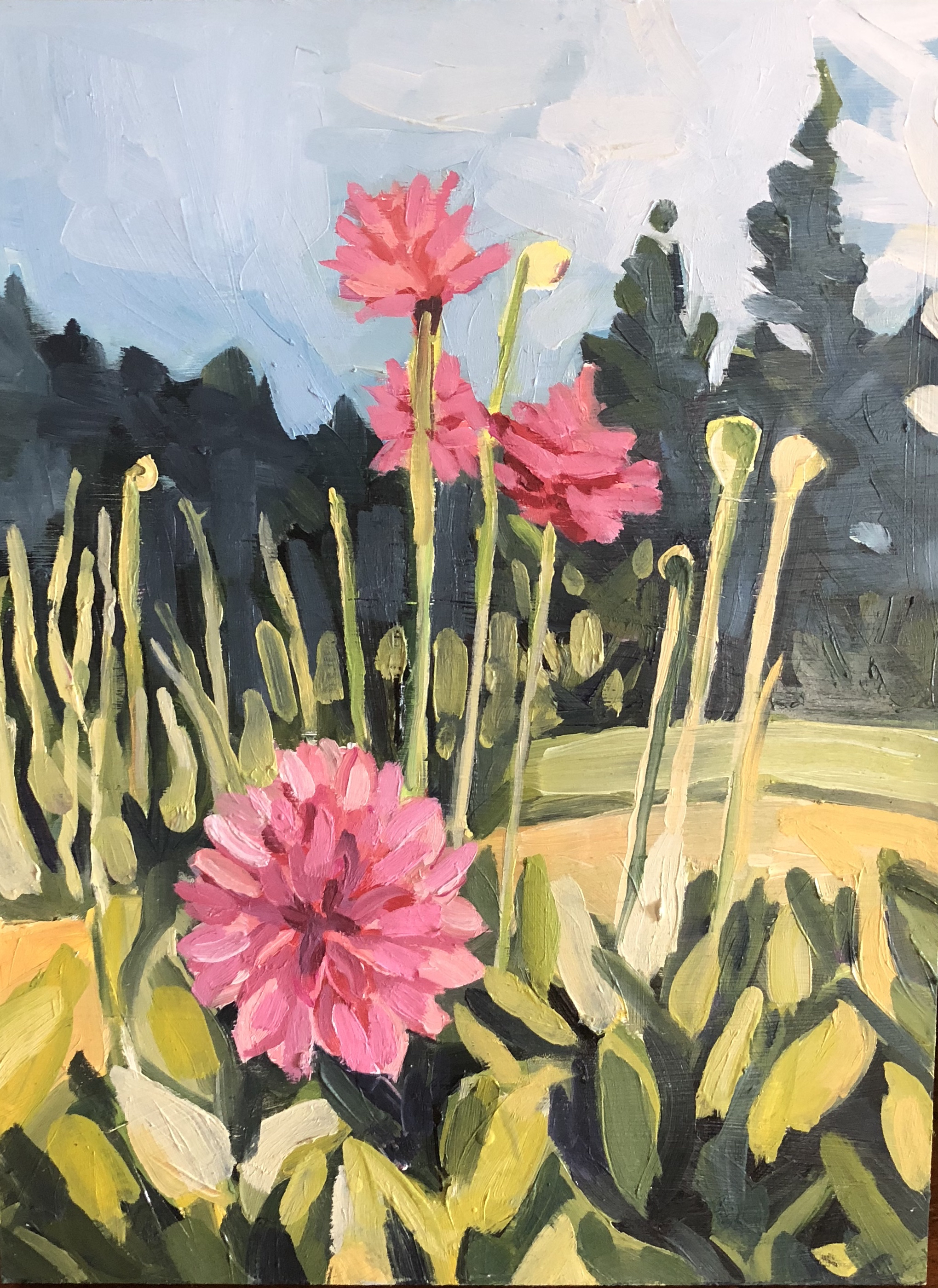"Elly's Dahlias, Oil on Panel, 8""x10"""