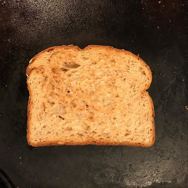 One of the most important steps to a good  BLT is toasting the bread on a griddle instead of in the toaster.