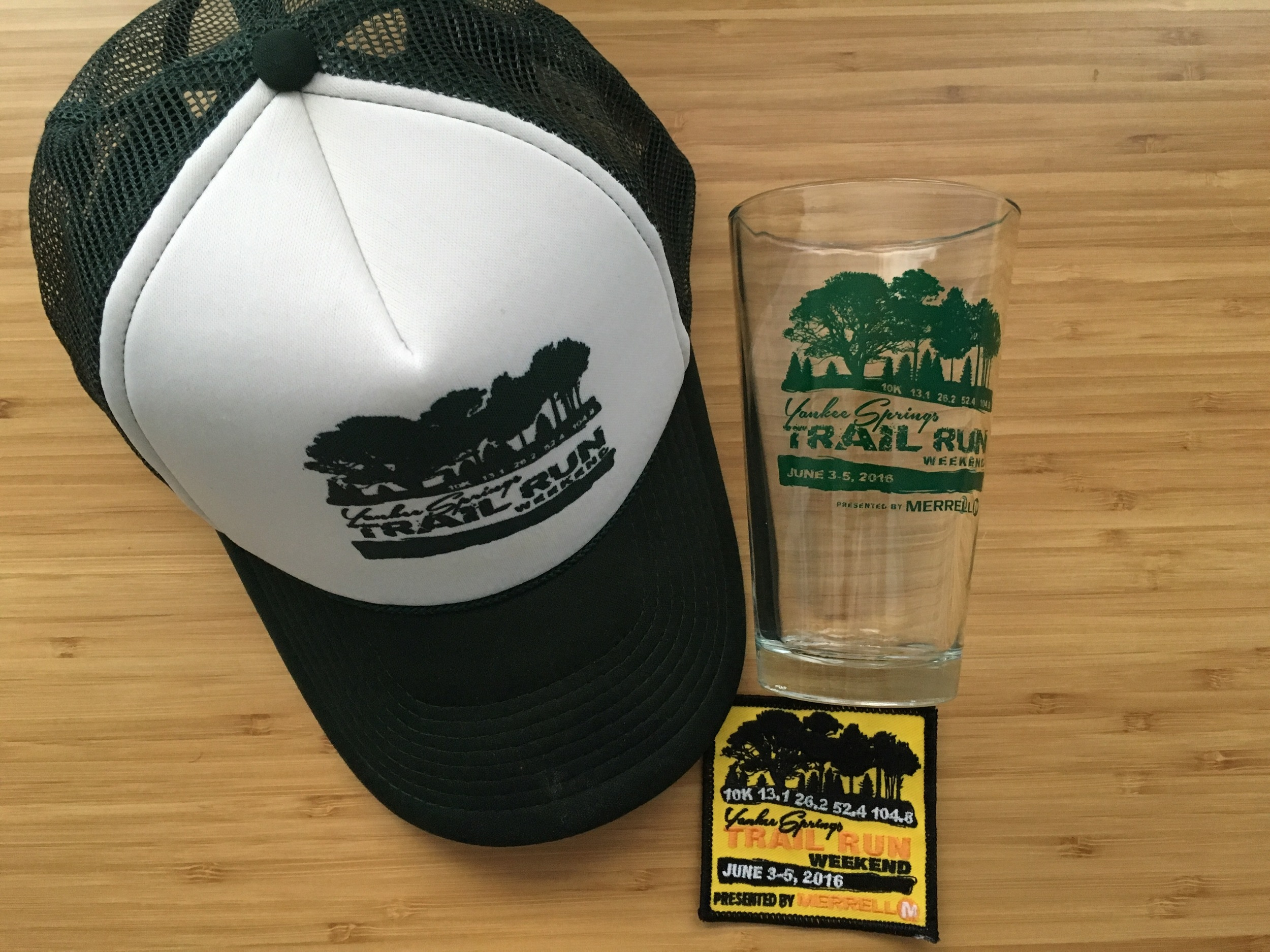 Actually useful race swag (hat, glass, and patch) instead of medal. Thanks!