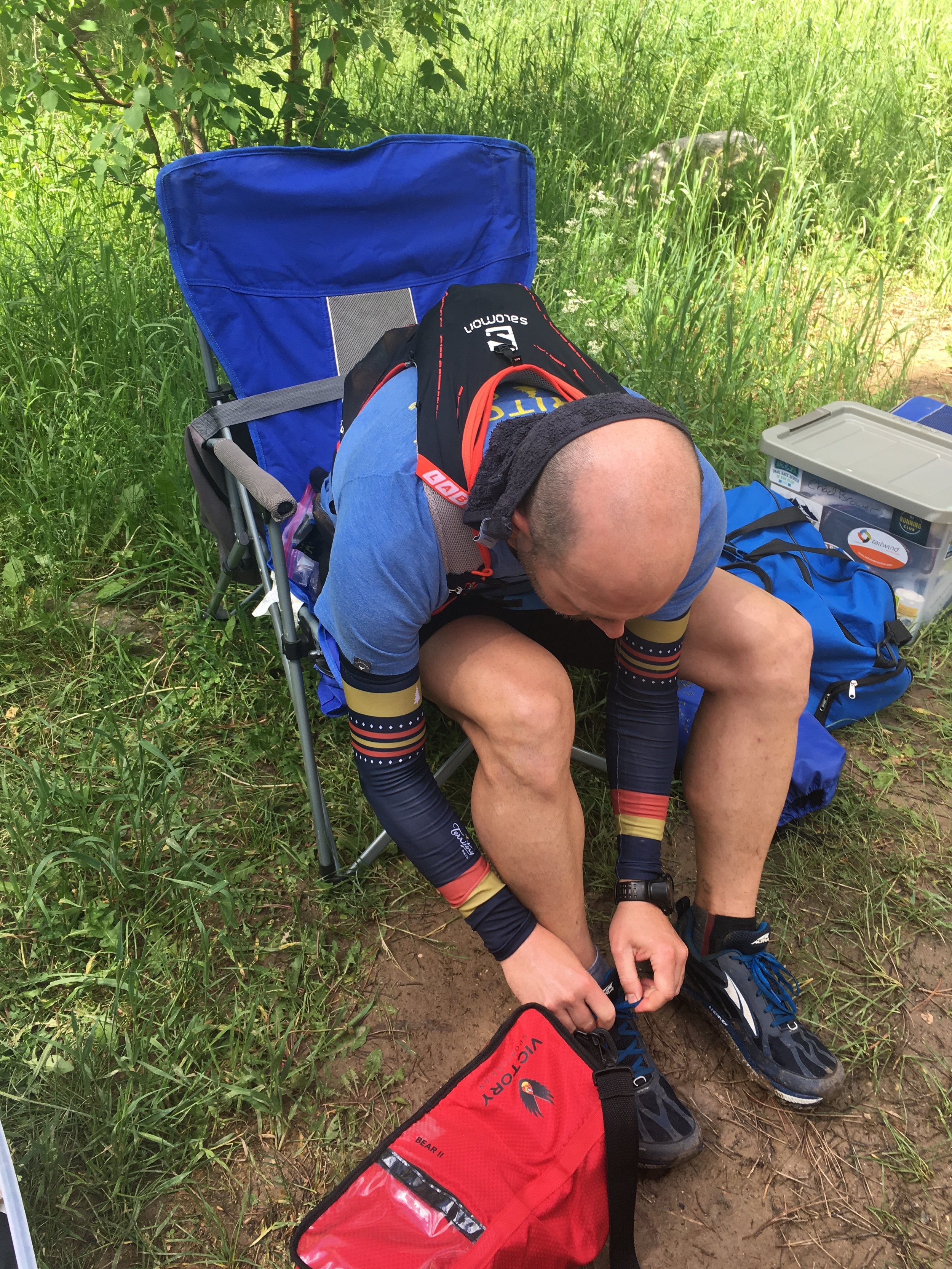 Changing my socks at Elk Creek after the river crossings.