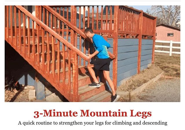 "Just finished ""3-Minute Mountain Legs"" routine from the latest @trailrunnermag email. Seems good and can easily incorporate these two exercises into a regular routine.  1. Single-Leg Rear Lunge (20 to 50 on each leg) 2. Single-Leg Step-Ups (30 to 100 on each leg)  Give it a try and make it into a tiny habit!"