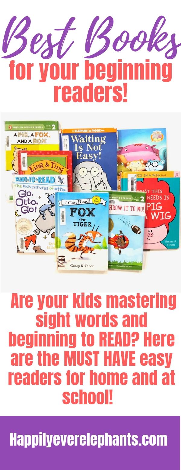 Best Books for Beginning Readers, including pre reader books, easy books similar to kindergarten reading passages, and easy books for 1st graders