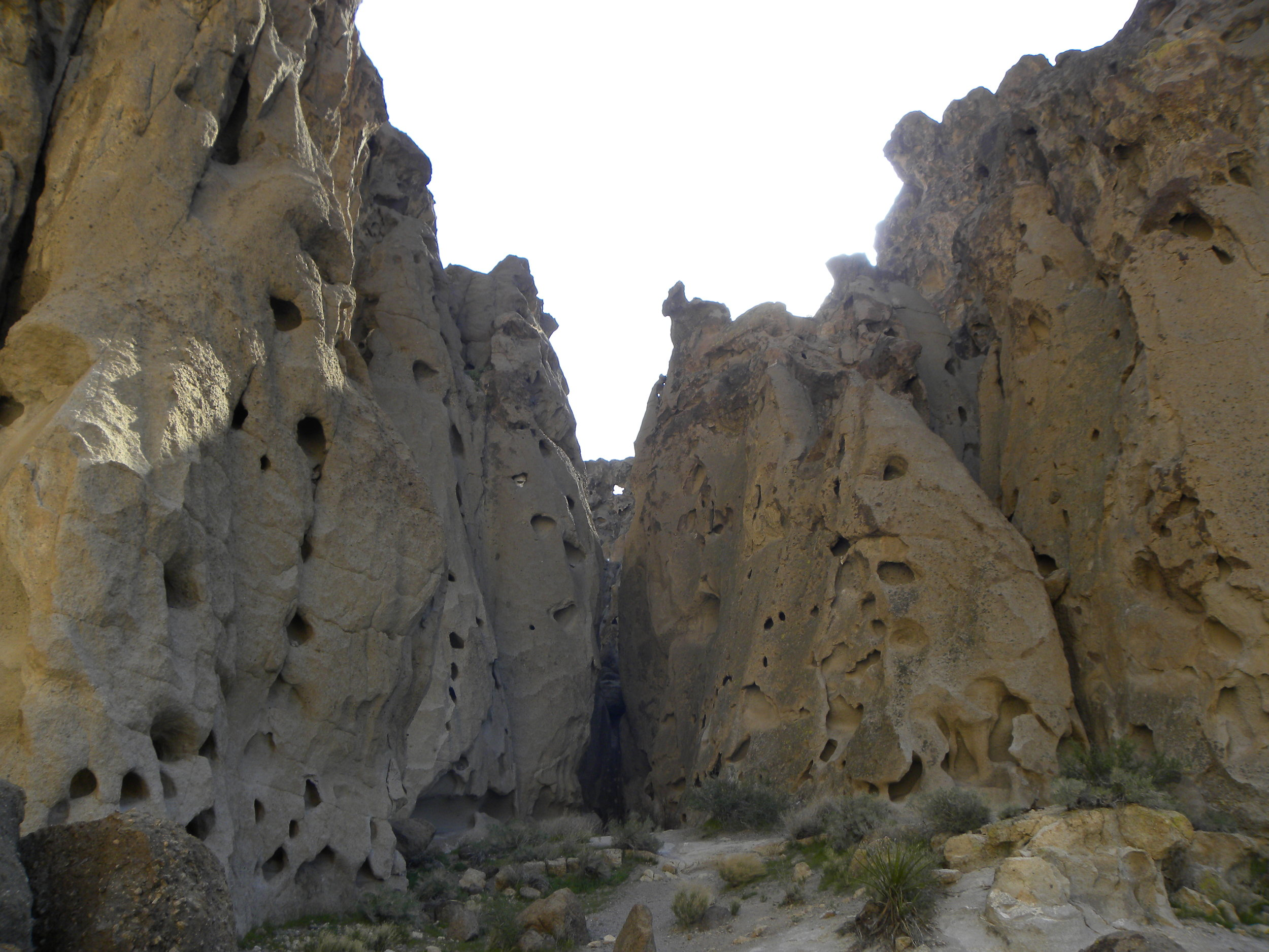 Empty pockets left in the rock are evidence of gas trapped in fallen ash during volcanic activity millions of years ago.