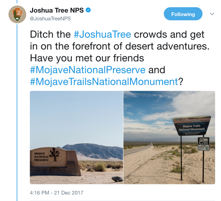 A tweet by Joshua Tree National Park urges visitors to consider other desert destinations to avoid crowds.