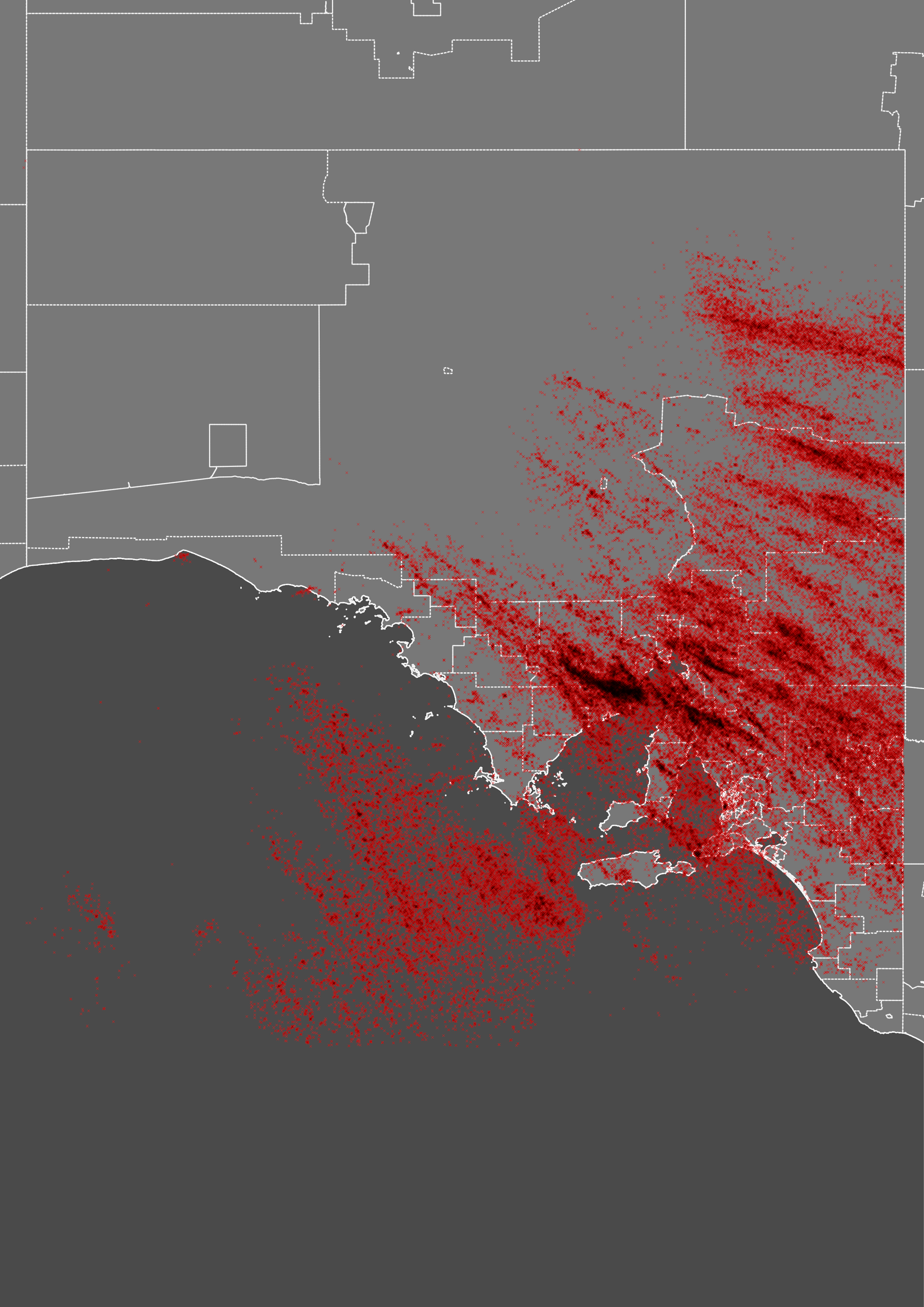 Observed lightning strikes (red) around Port Adelaide during yesterday's storm.
