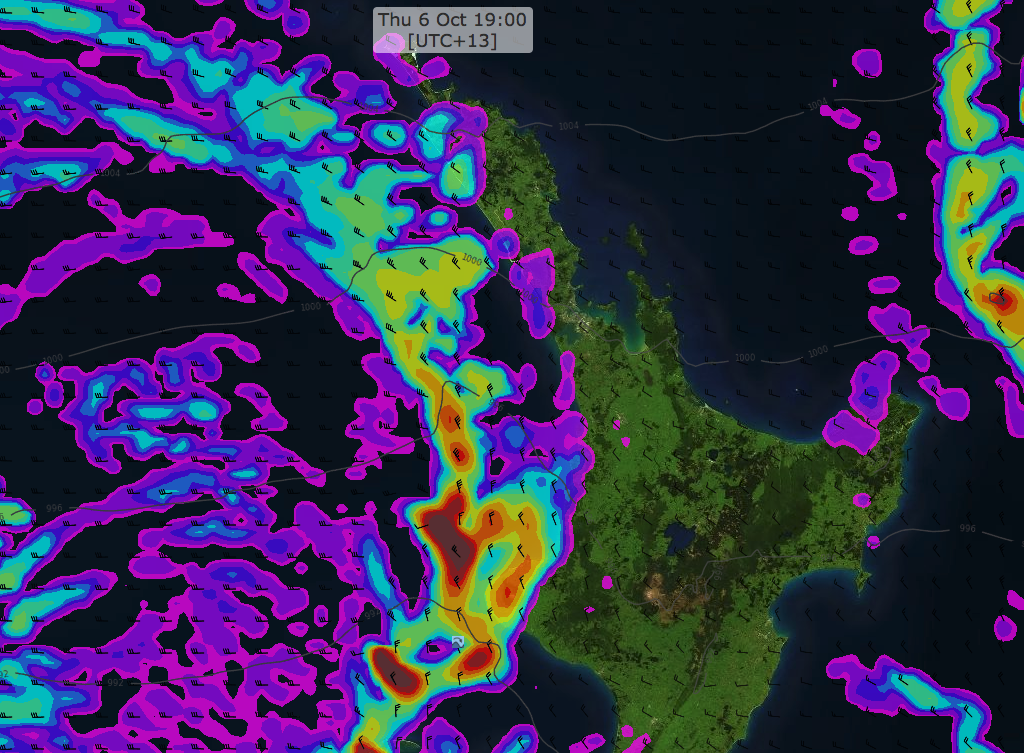The forecasted trough over the North Island, as seen in MetOceanView.