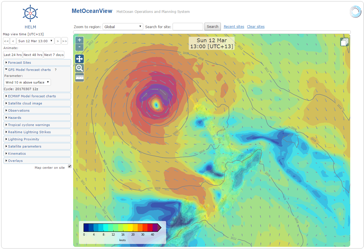 View to the weather: gale force winds forecast for early next week. Image from  MetOceanView.com
