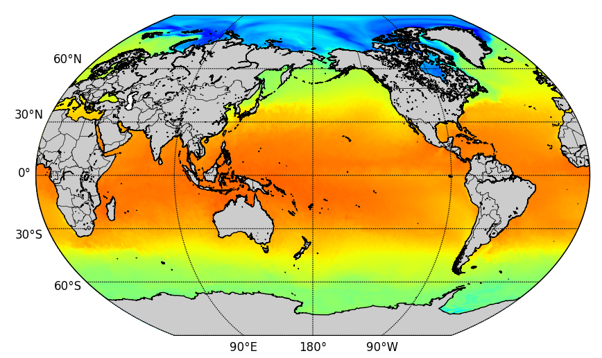 Sea surface temperature snapshot from CFS dataset.