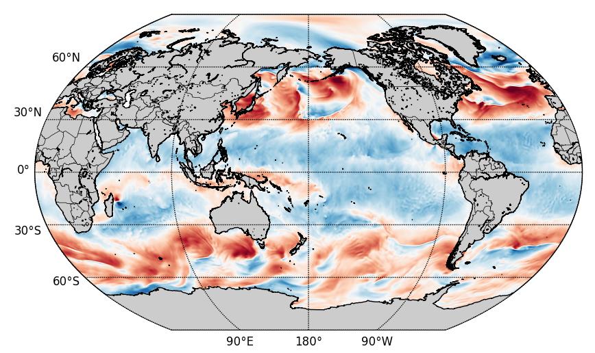 Eastward wind snapshot from CFS dataset.