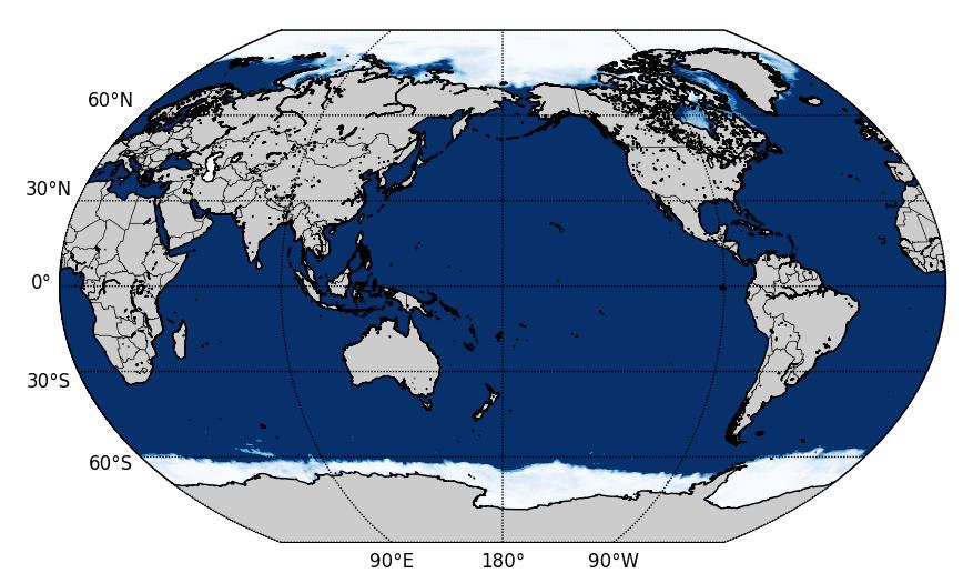 Sea ice area snapshot from CFS dataset.