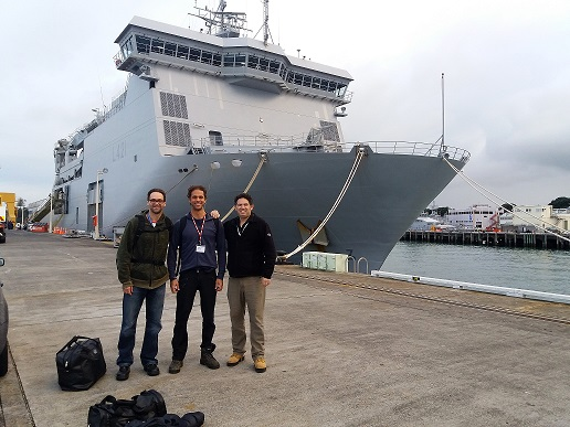 Figure 3: Dr Jamie Halla (left) and Theo Zlatanov (right) from DTA and Dr Rafael Guedes from MetOcean Solutions (centre) getting ready for the trial on the Canterbury ship.