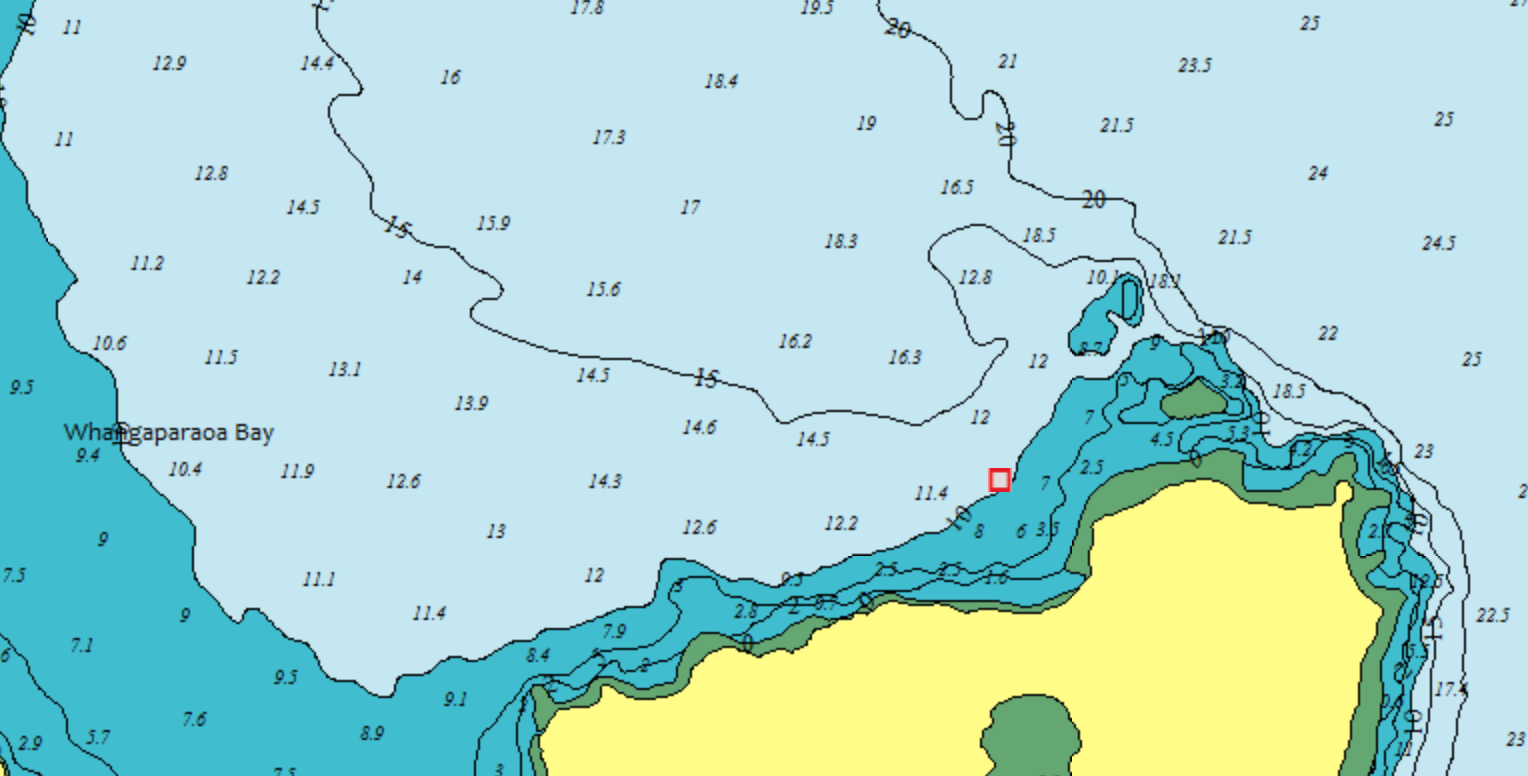 Figure 5: Screenshot from  MetOceanView  showing the forecast site at the location where the New Zealand Defence Force wavebuoy was deployed.