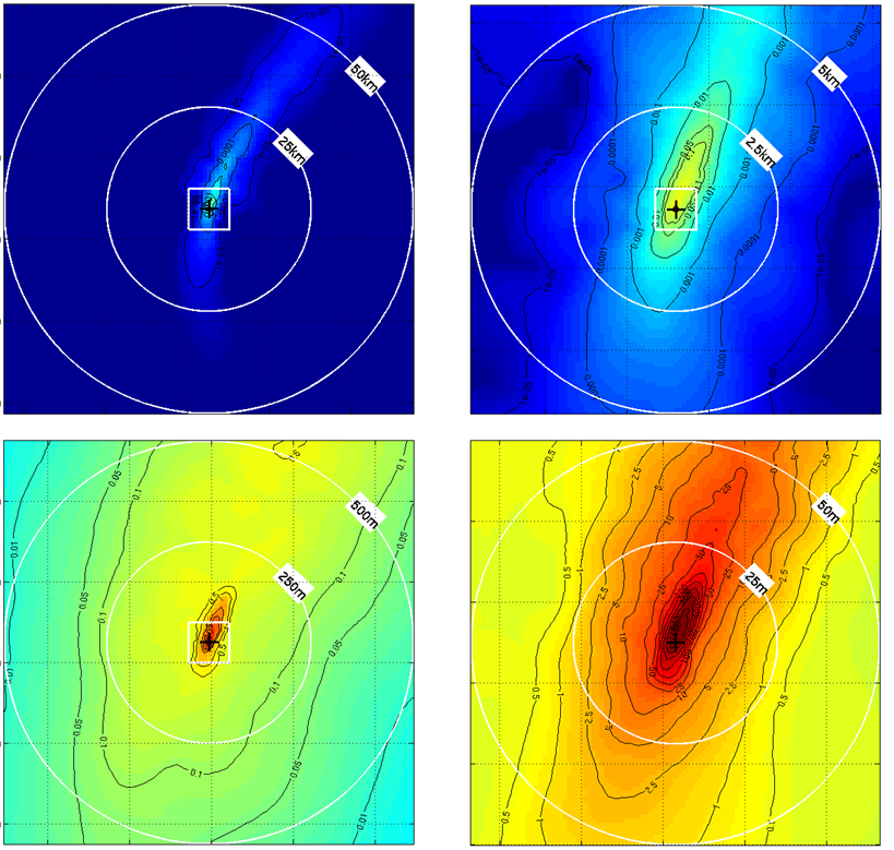 Example deposition thickness for drill cuttings discharged from a marine location. The spatial distributions of deposition thickness are color-coded with values in mm on each contour line in four zoom views: 100x100 km (top left), 10x10 km (top right), 1x1 km (bottom left) and 100x100 m (bottom right). The release site is indicated as a black cross.