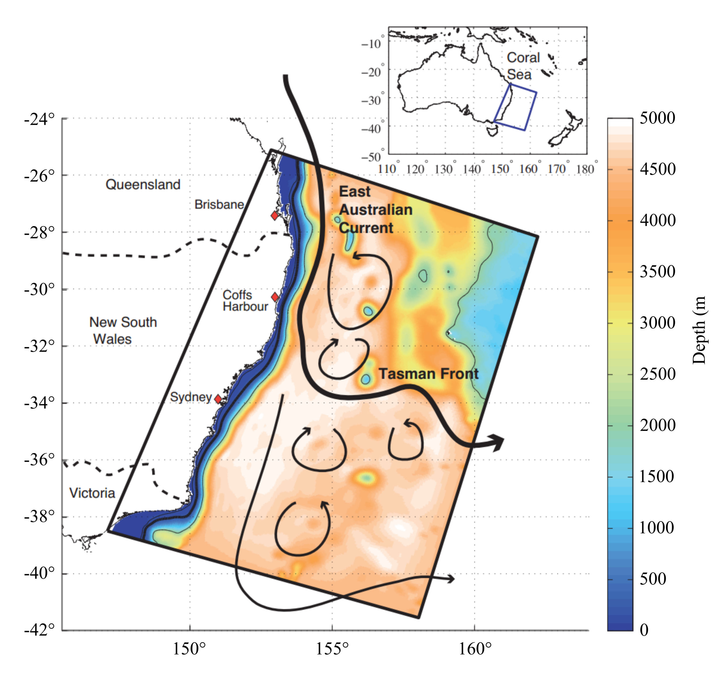 Model domain and bathymetry showing the East Australian Current and the Tasman Front (Image by  Kerry et al, 2016 )