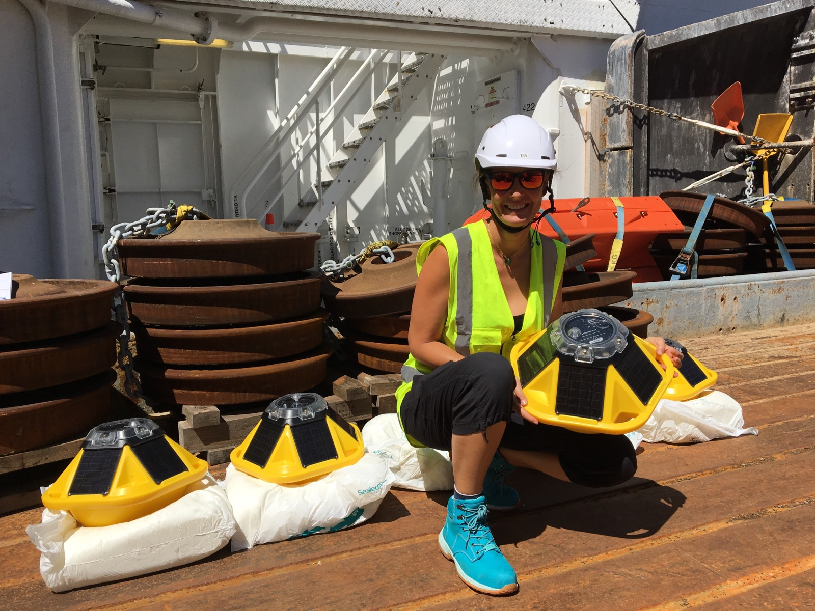 Aitana with the wave drifter buoys on board Tangaroa.