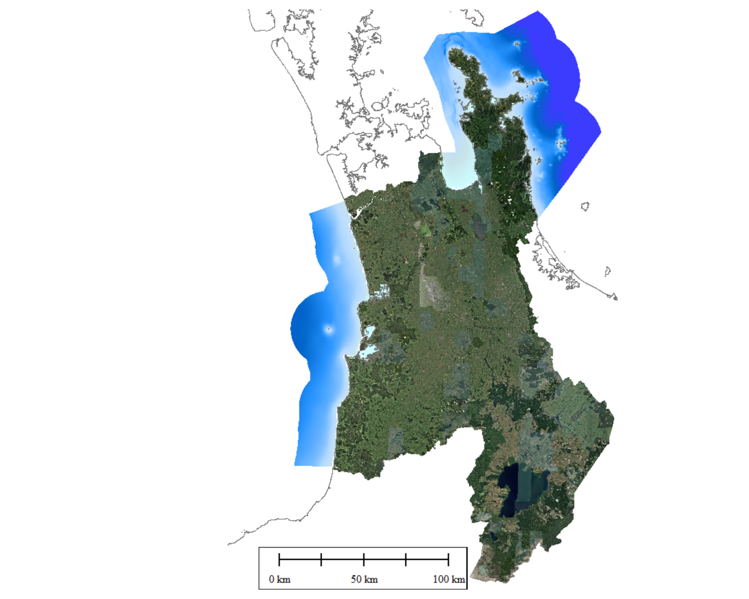 Bathymetry of the Waikato Coastal Marine Area (east and west)
