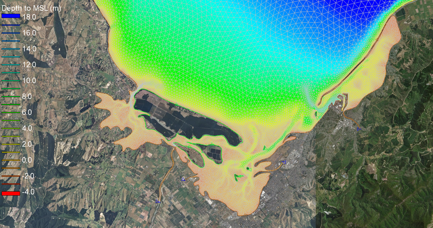 SCHISM model grid resolution from approximately 10 m nearshore to 1.5 km offshore.