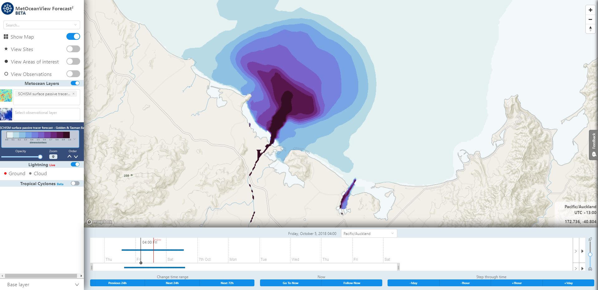 Map layer of  SCHISM surface passive tracer forecast. Image from MetOceanView. ,