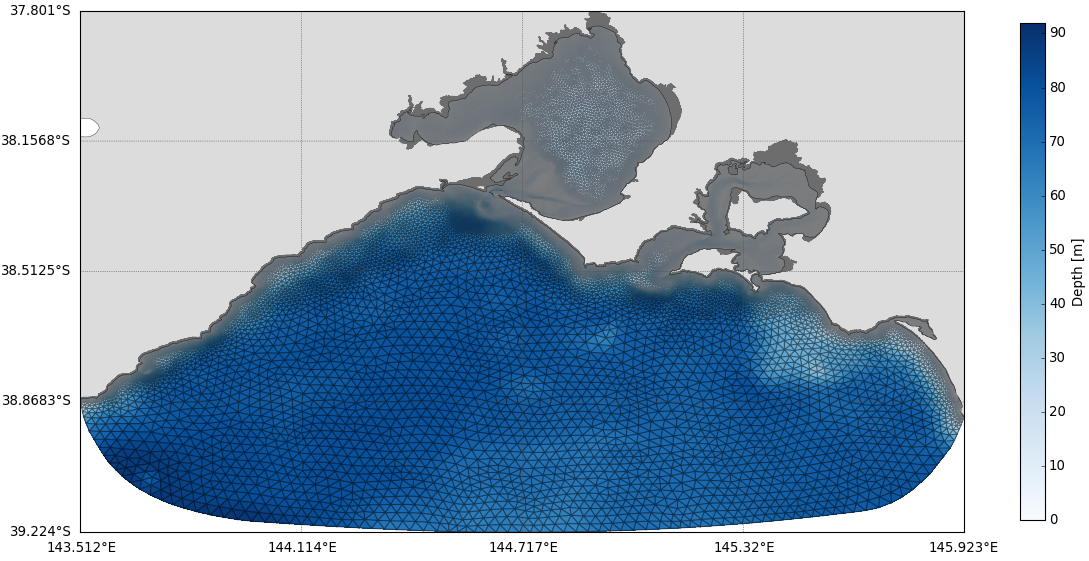 SCHISM model mesh for Port Phillip Bay.