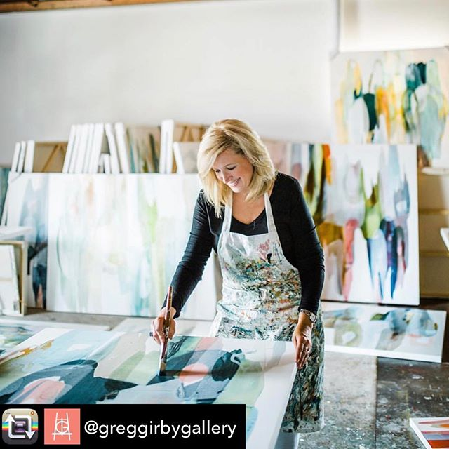 Repost from @greggirbygallery - meet the artist :: L Y N N  S A N D E R S    resides in Louisiana with her family    Lynn's organic abstract paintings are a beautiful balance of color and clean negative space // each work is layered with acrylic paints, inks, glazes and other mediums // the final works are atmospheric, improvisational and textural :: #weloveourartists #livinlargeinlouisiana #greggirbygallery