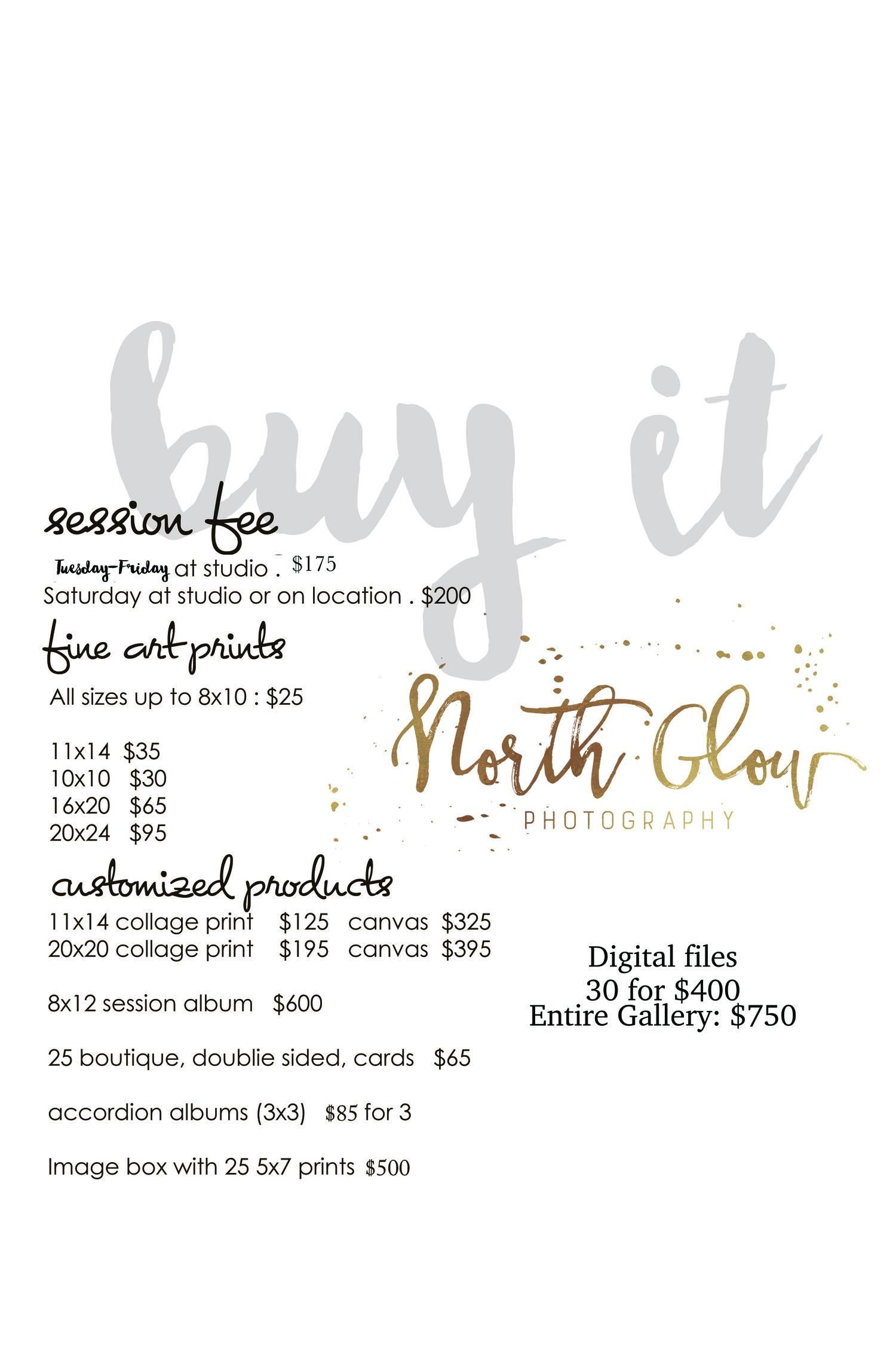 A La Carte Print Pricing — North Glow PHOTOGRAPHY