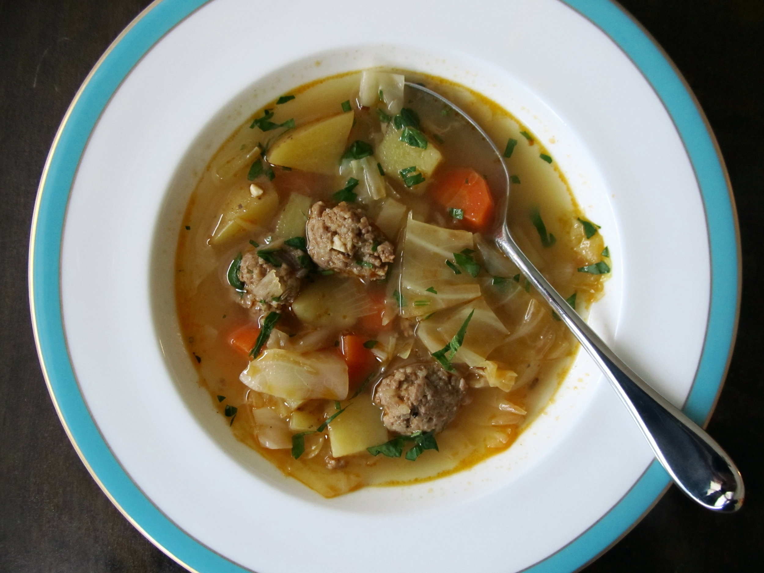 Cabbage, Potato, Garlic Thyme Sausage Soup