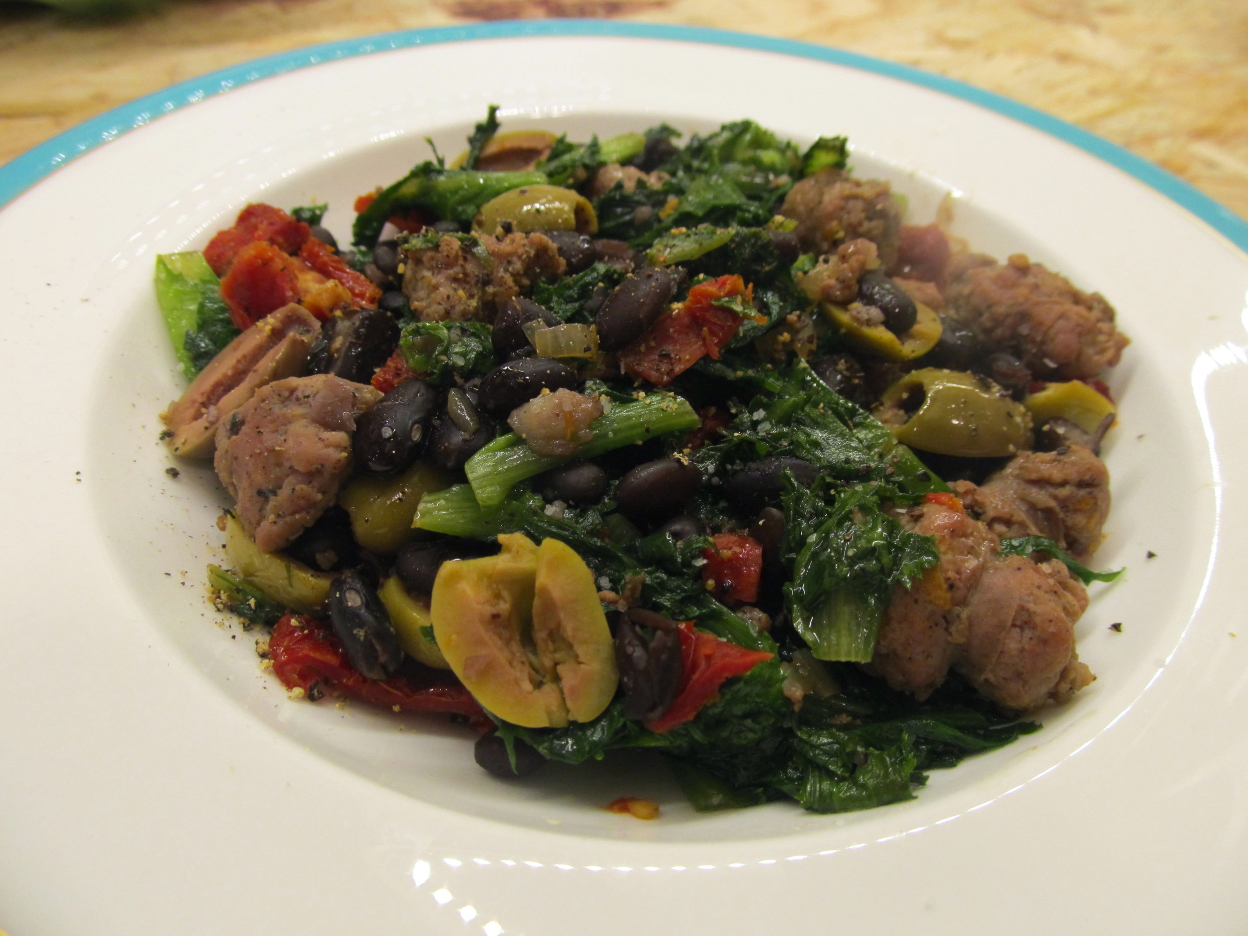 Escarole with Duck Sausage