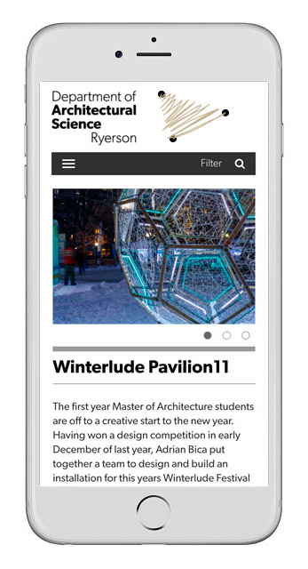 Ryerson University Department of Architectural Science Website Design