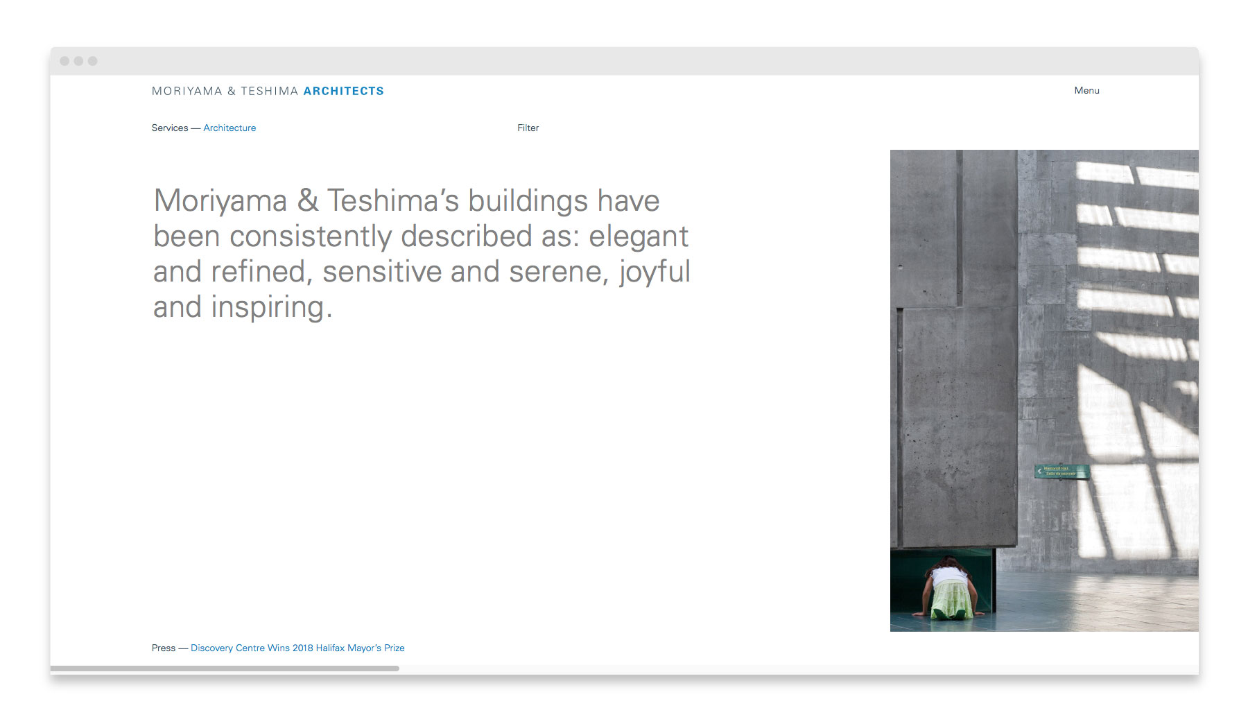 Moriyama & Teshima Architects / Website Design