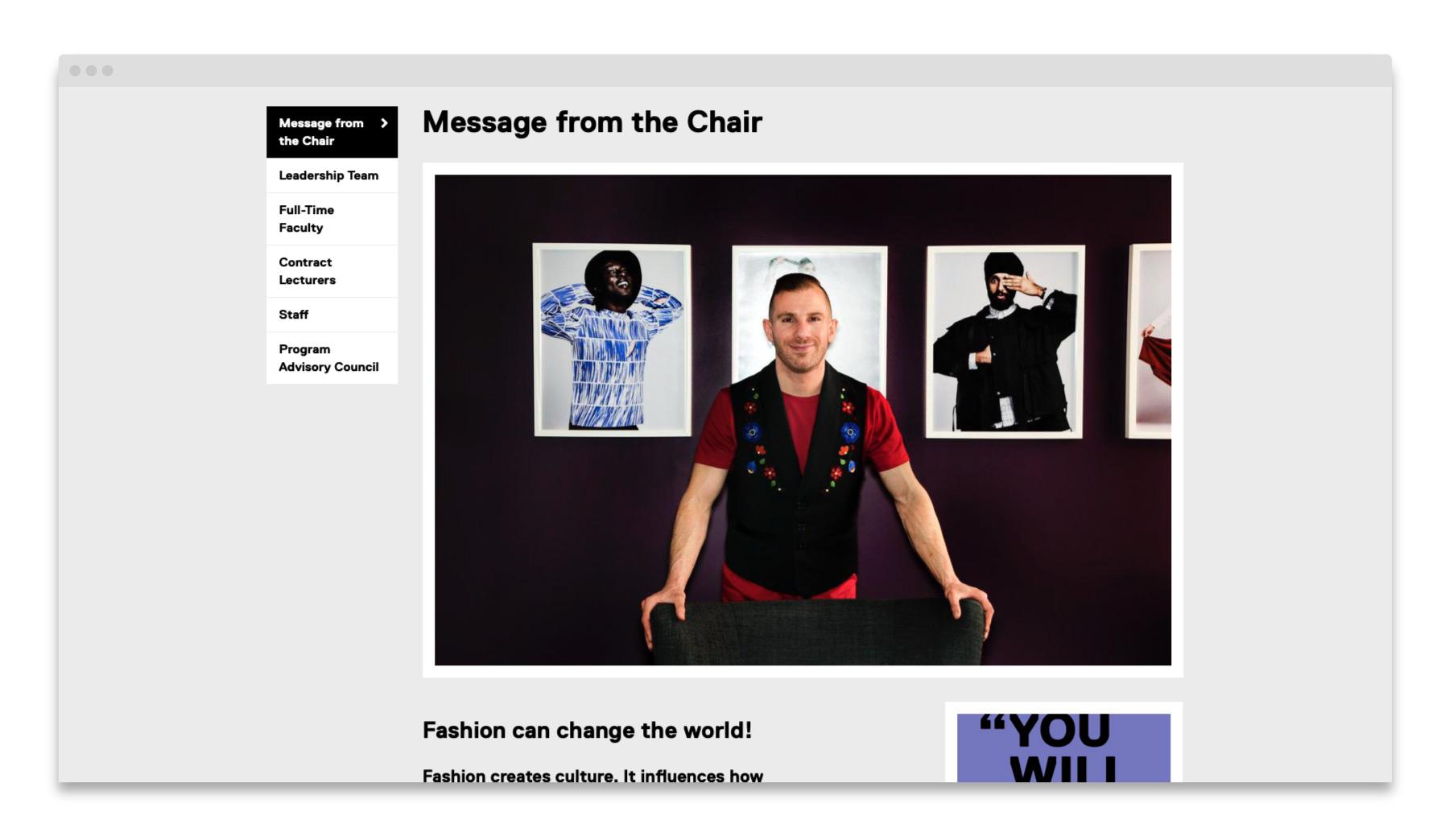 Fashion at Ryerson / Website Design
