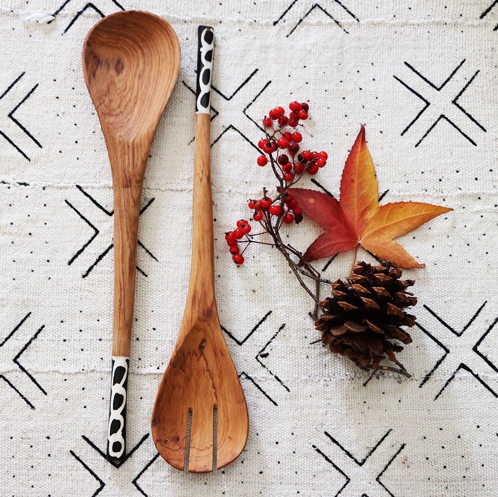 Copy of Copy of Salad Servers: Olivewood and Bone Inlay