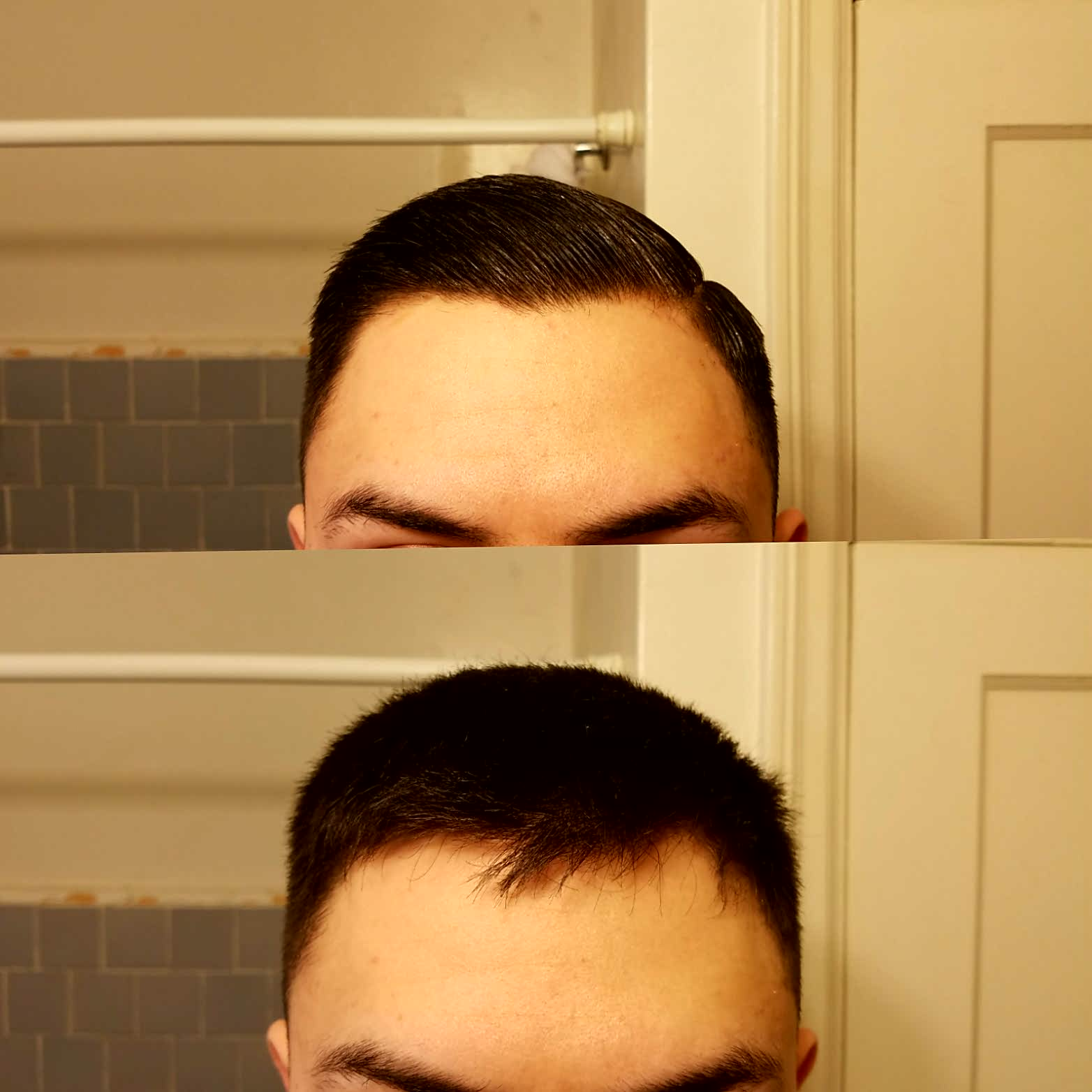 """the """"before and after"""" the product is applied."""