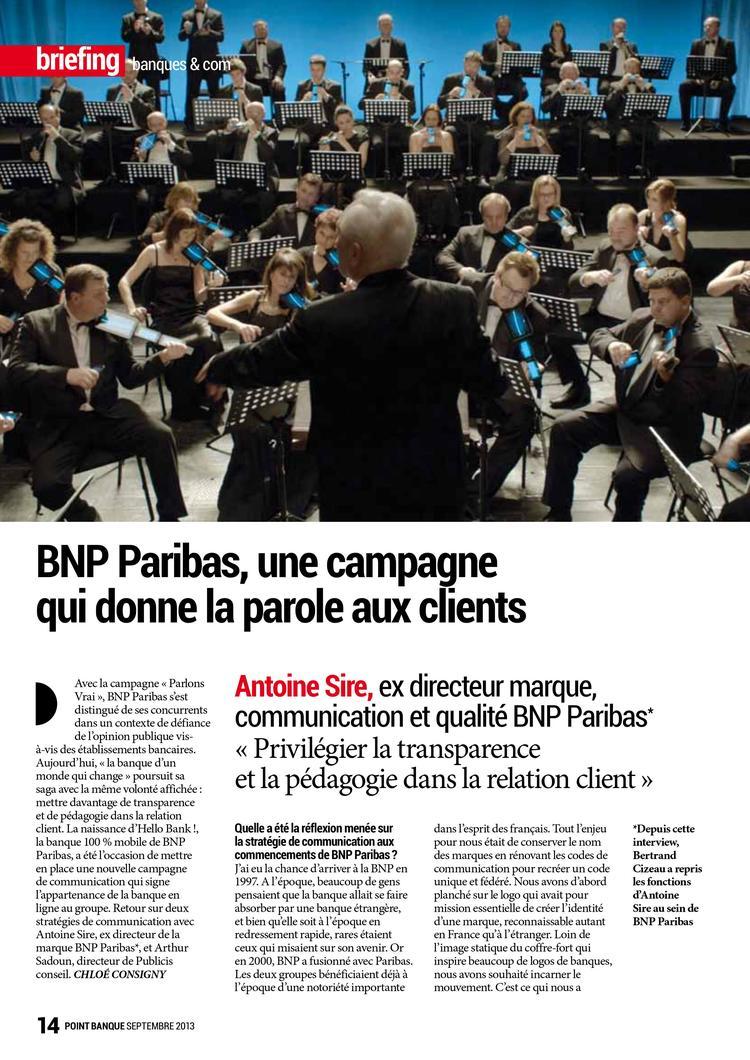 Point Banque - BNP Paribas, stratégie de communication - Septembre 2013