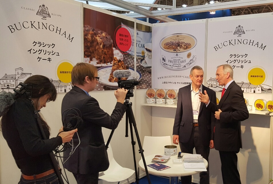 March 2016 - Buckingham fruit cakes reach Japan. We exhibited at the Foodex exhibition in Tokyo and received a visit from the British Ambassador for a video interview. See the interview on YouTube here.