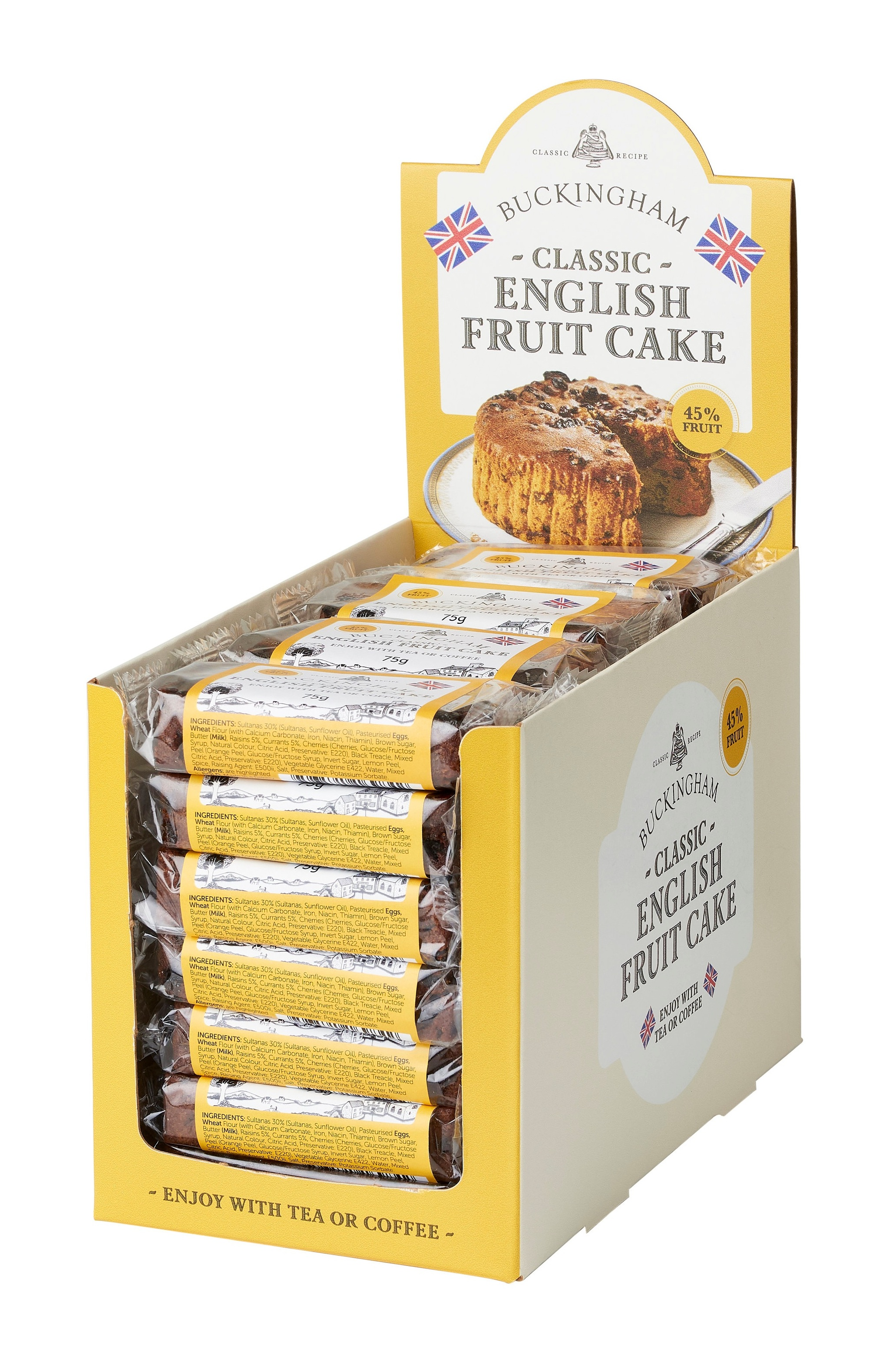 - Fruit Cake SlicesClassic Buckingham® recipePackaging: 75g slices. Cello-wrapped. Pack Size: 24 x 75g in display box (two display boxes per shipping carton). Storage: AmbientShelf-life: 12 monthsRecipe: Pure butter. Over 45% fruit.No artificial colours or flavours.