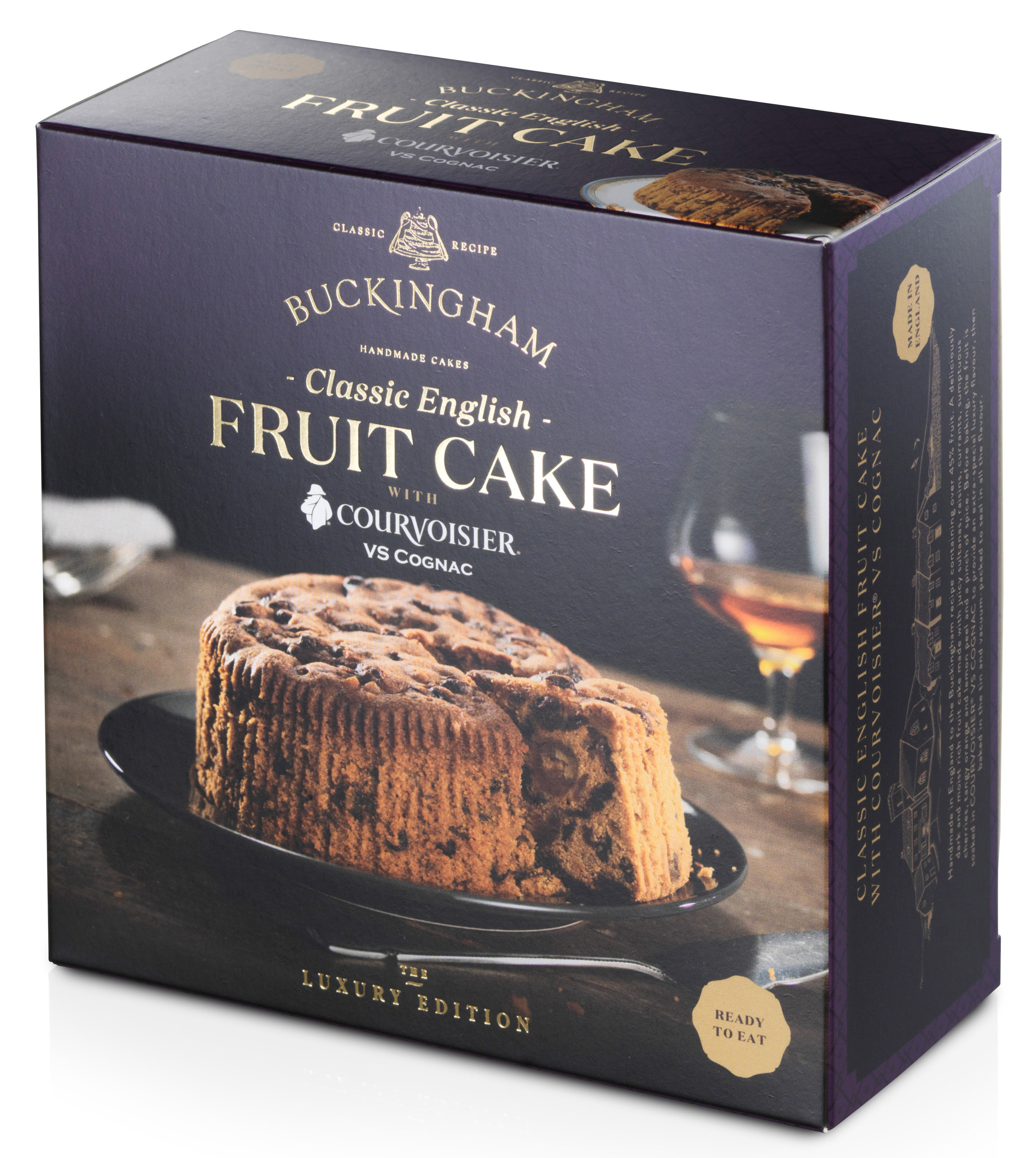 - Classic English Fruit Cake flavoured withCourvoisier® VS CognacPackaging: Vacuum-sealed tin with ring-pull, packed inside elegant gift box.Pack Sizes: 6 x 280g, 6 x 700gStorage: AmbientShelf-life: 24 monthsRecipe: Pure butter. Over 45% fruit.No artificial colours or flavours.