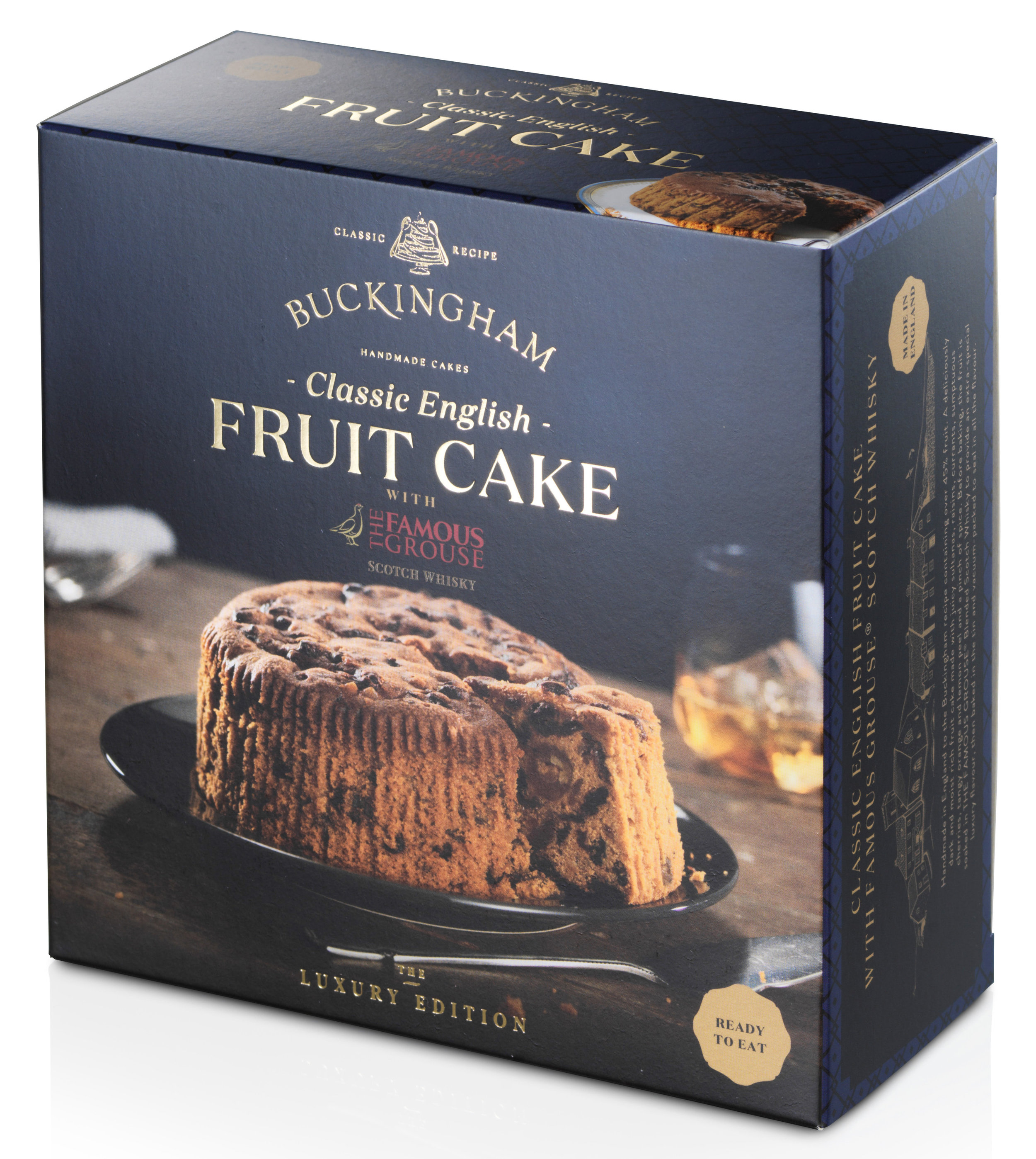 - Classic English Fruit cake flavoured withThe Famous Grouse® Scottish WhiskyPackaging: Vacuum-sealed tin with ring-pull, packed inside elegant gift box.Pack Sizes: 6 x 280g, 6 x 700gStorage: AmbientShelf-life: 24 monthsRecipe: Pure butter. Over 45% fruit.No artificial colours or flavours.