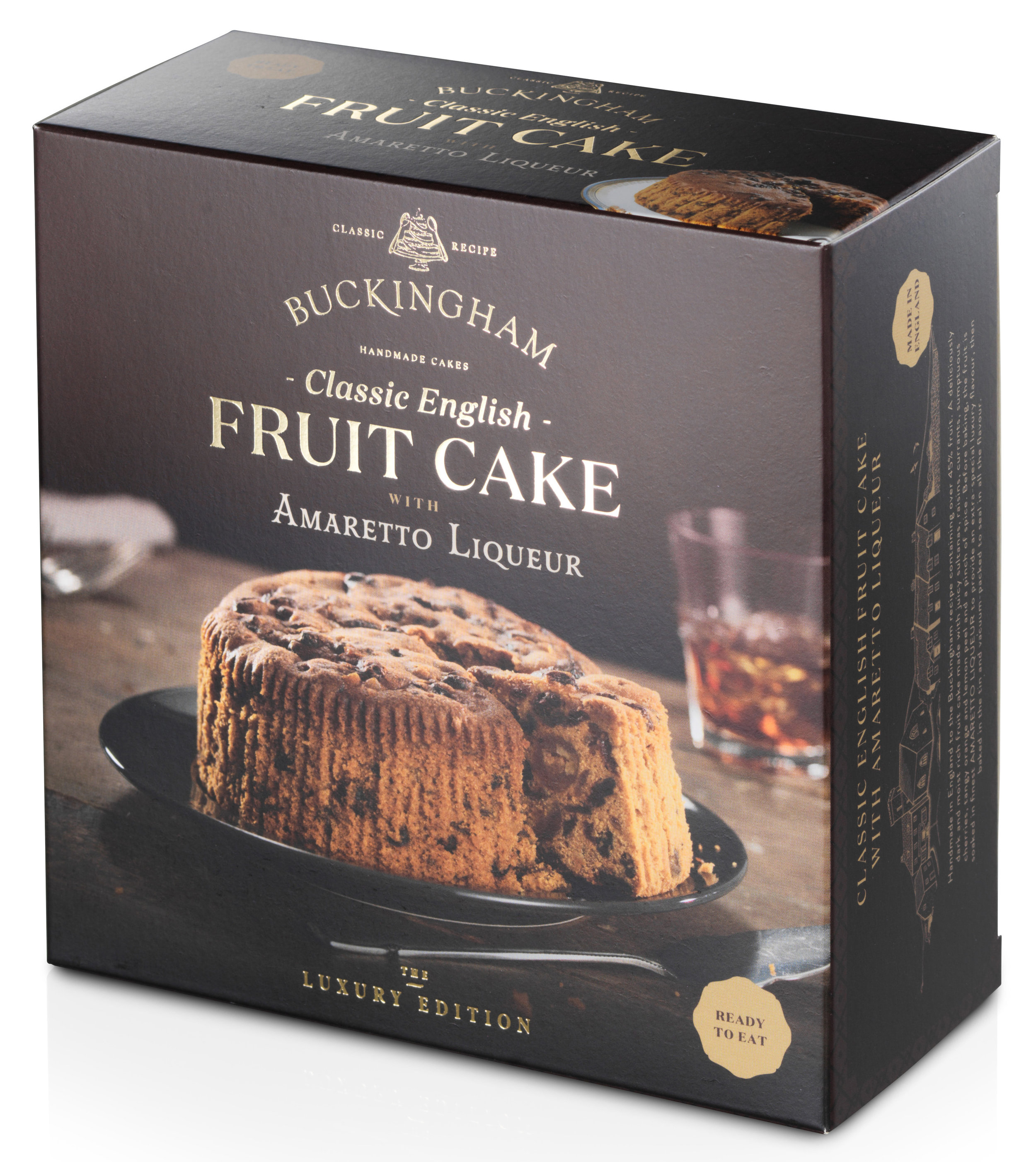 - Classic English Fruit Cake flavoured withAmaretto LiqueurPackaging: Vacuum-sealed tin with ring-pull, packed inside elegant gift box.Pack Sizes: 6 x 280g, 6 x 700gStorage: AmbientShelf-life: 24 monthsRecipe: Pure butter. Over 45% fruit.No artificial colours or flavours.