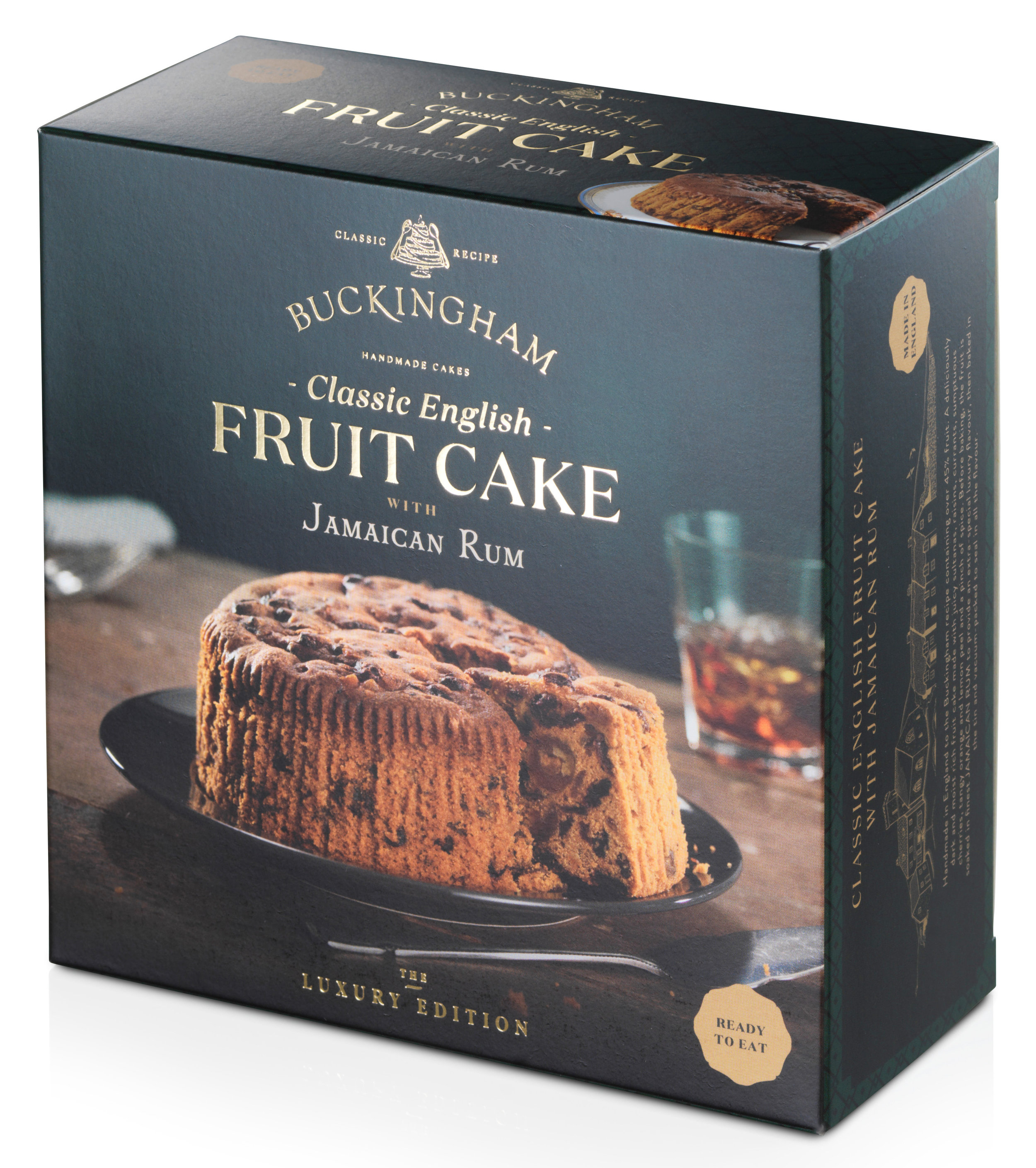 - Classic English Fruit Cake flavoured withJamaican RumPackaging: Vacuum-sealed tin with ring-pull, packed inside elegant gift box.Pack Sizes: 6 x 280g, 6 x 700gStorage: AmbientShelf-life: 24 monthsRecipe: Pure butter. Over 45% fruit.No artificial colours or flavours.